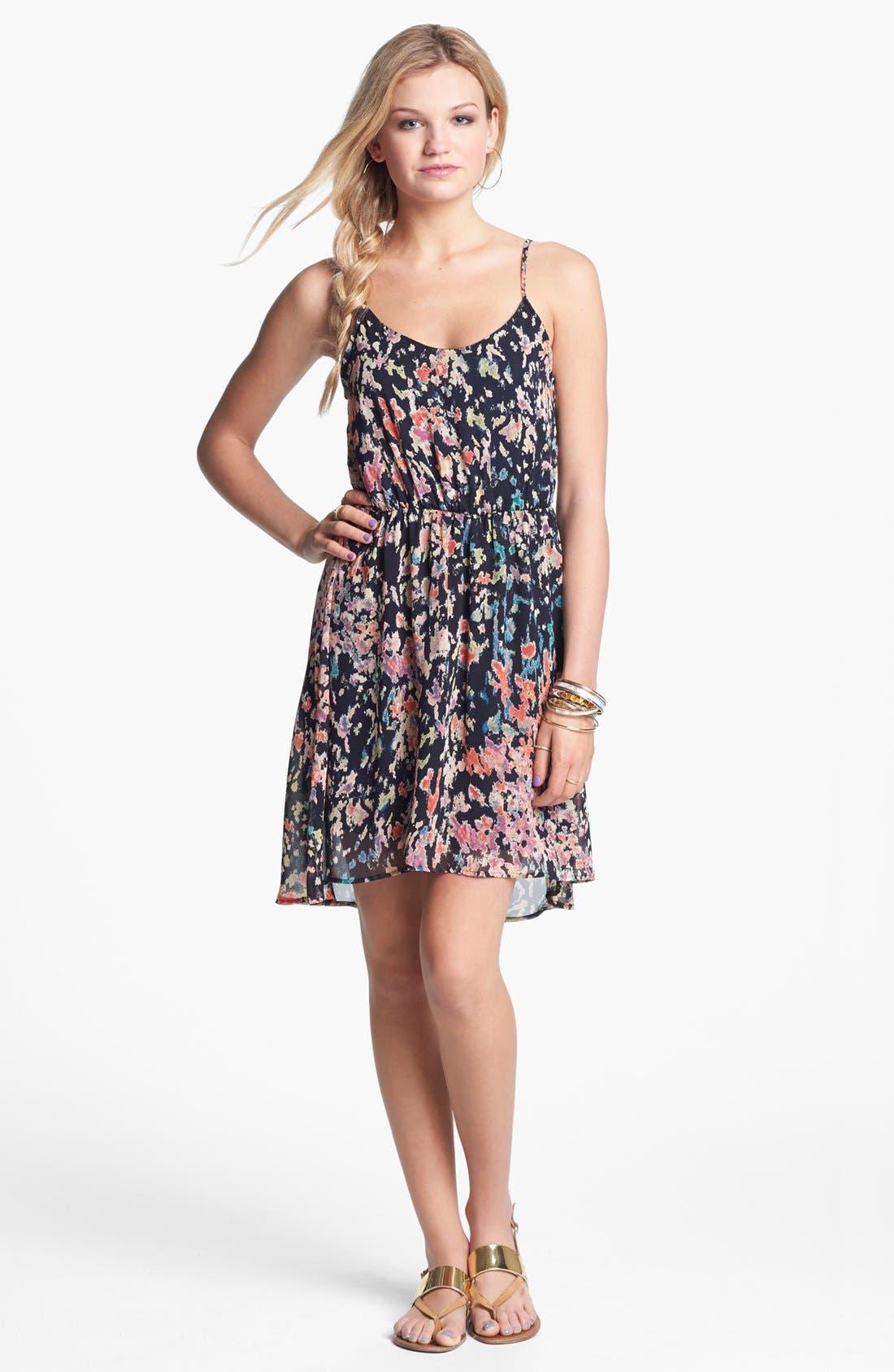 Alternate Image 1 Selected - Lush Cutout Ruffle Chiffon Dress (Juniors)