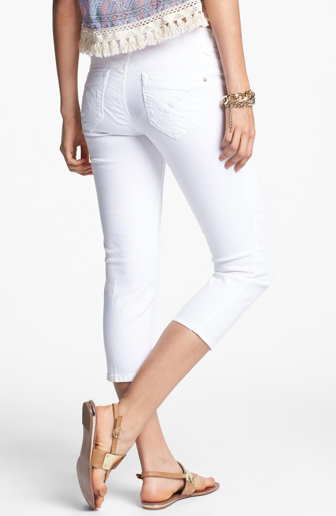 Alternate Image 2  - Jolt Crop Skinny Jeans (White) (Juniors)