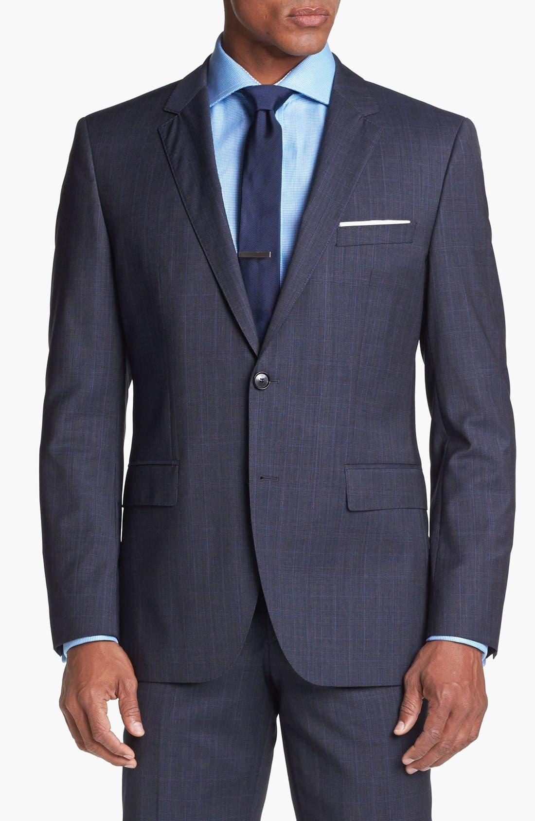 Alternate Image 4  - BOSS HUGO BOSS 'James/Sharp' Trim Fit Plaid Suit