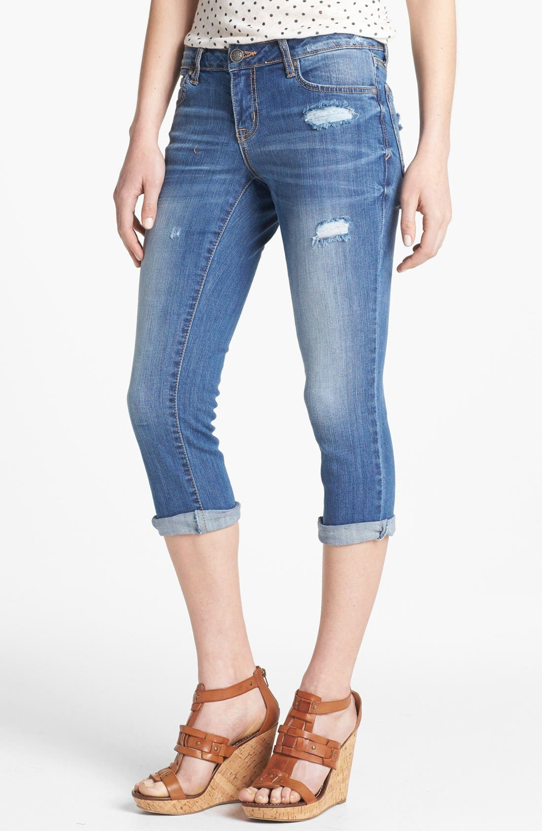 Main Image - Jessica Simpson 'Roe Clamdiggers' Destroyed Crop Jeans (Moscow Blue)