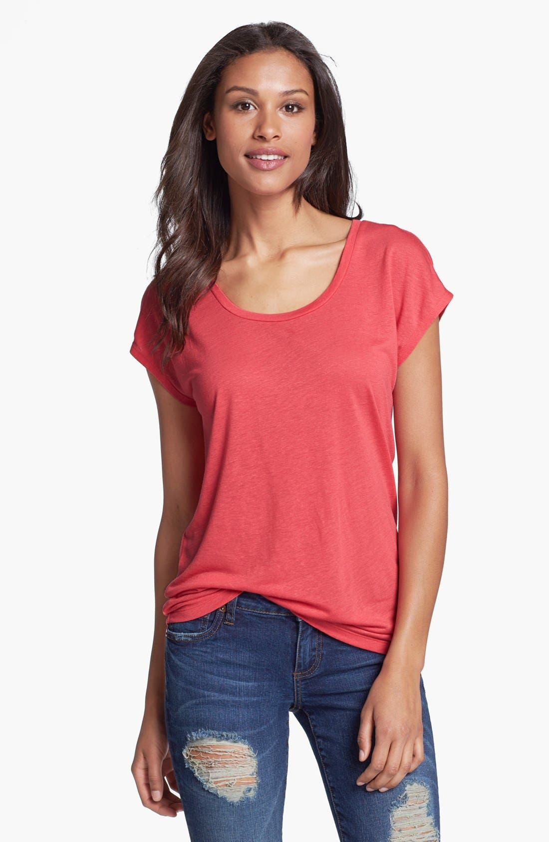 Alternate Image 1 Selected - Caslon® Linen Blend Scoop Neck Tee (Regular & Petite)