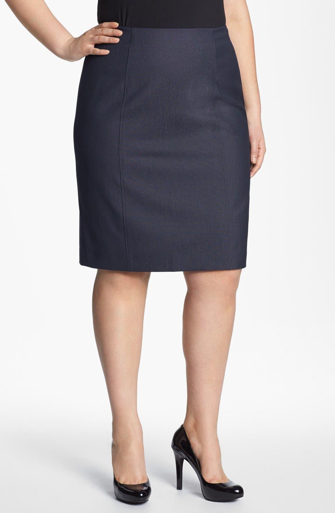 Main Image - Sejour Seamed Suit Skirt (Plus Size)