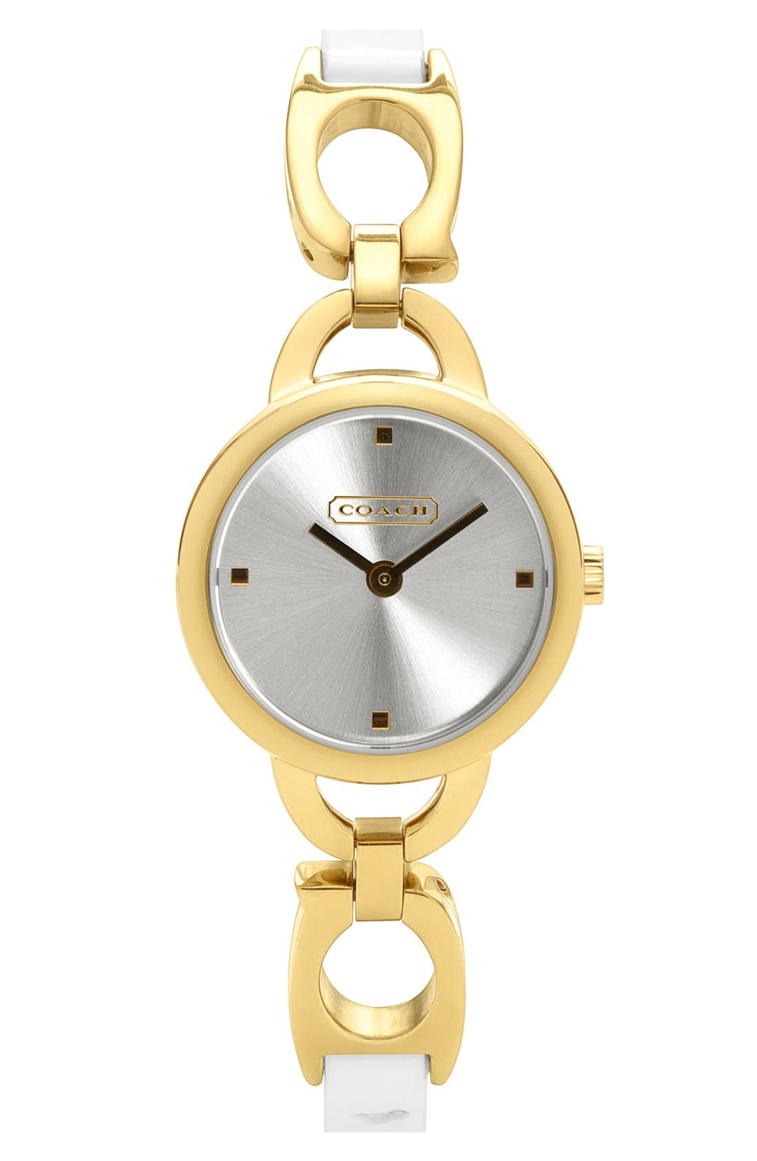 Alternate Image 1 Selected - COACH Small Round Leather Strap Watch
