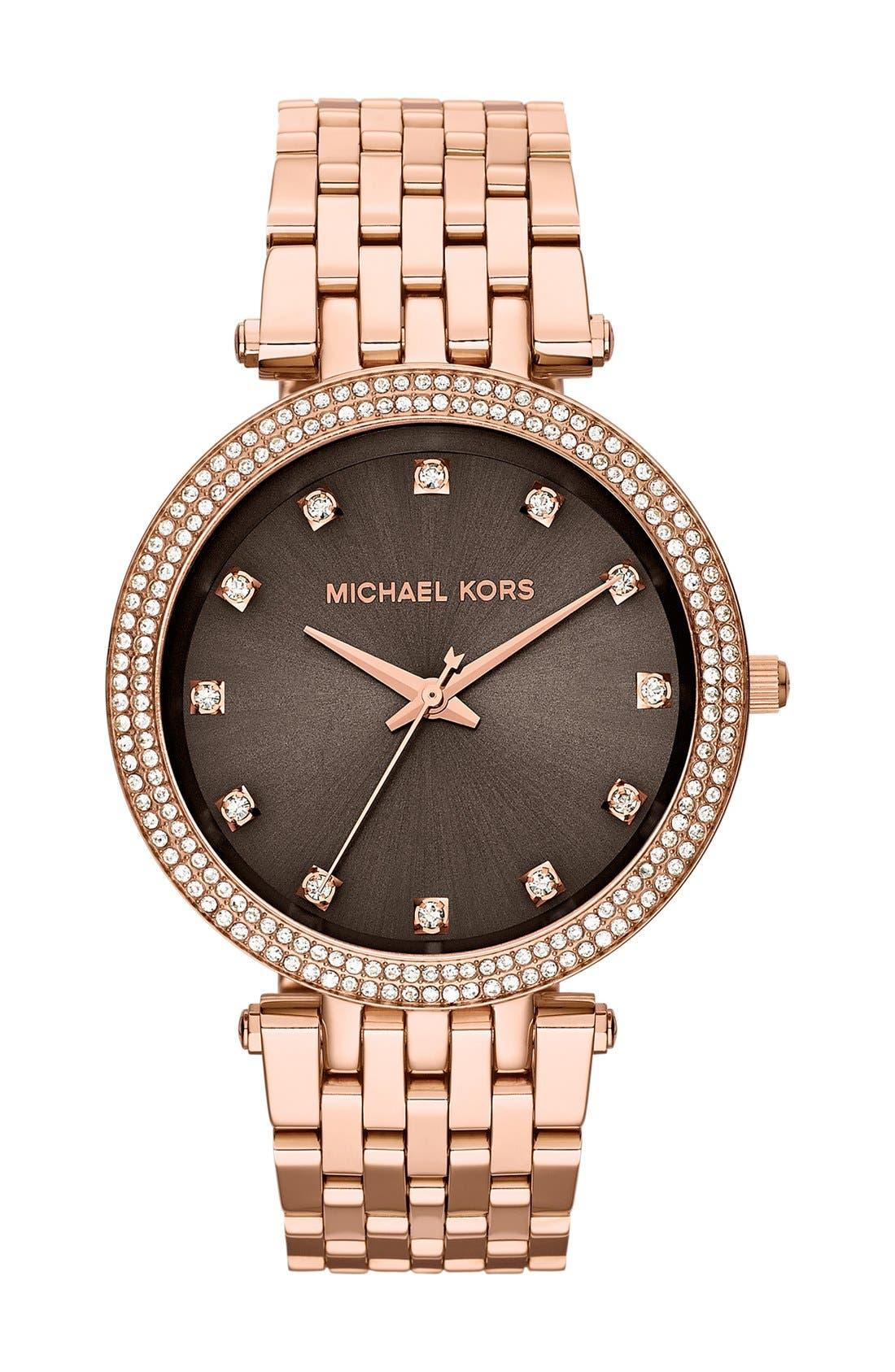 Alternate Image 1 Selected - Michael Kors 'Darci' Crystal Bezel Bracelet Watch, 39mm