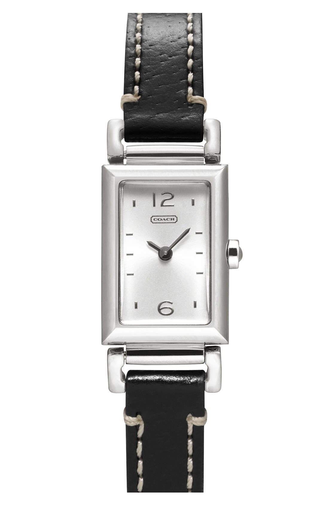 Alternate Image 1 Selected - COACH 'Small Madison' Leather Strap Watch, 11mm x 17mm