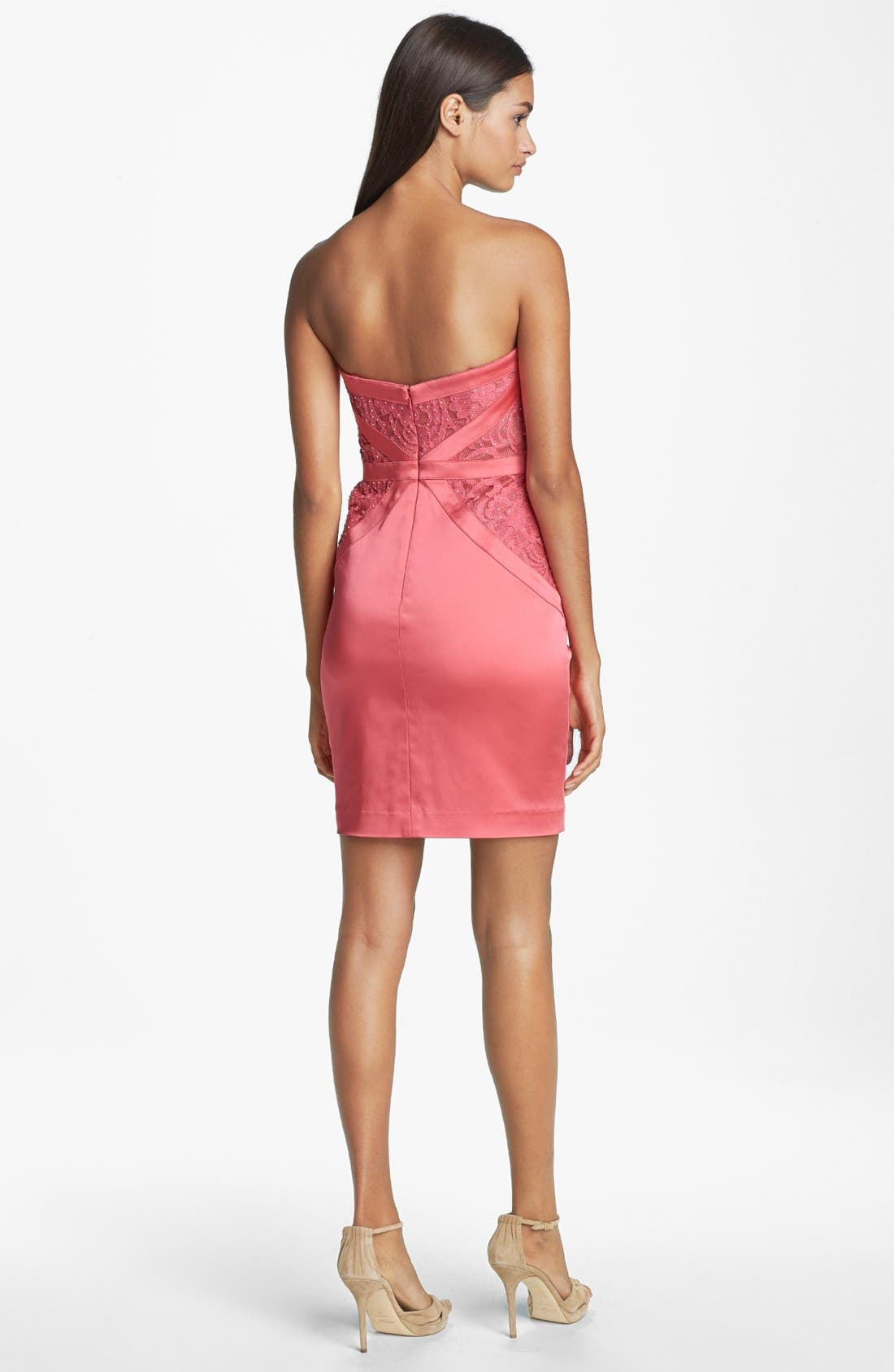 Alternate Image 2  - Aidan Mattox Embellished Lace Strapless Sheath Dress (Online Only)