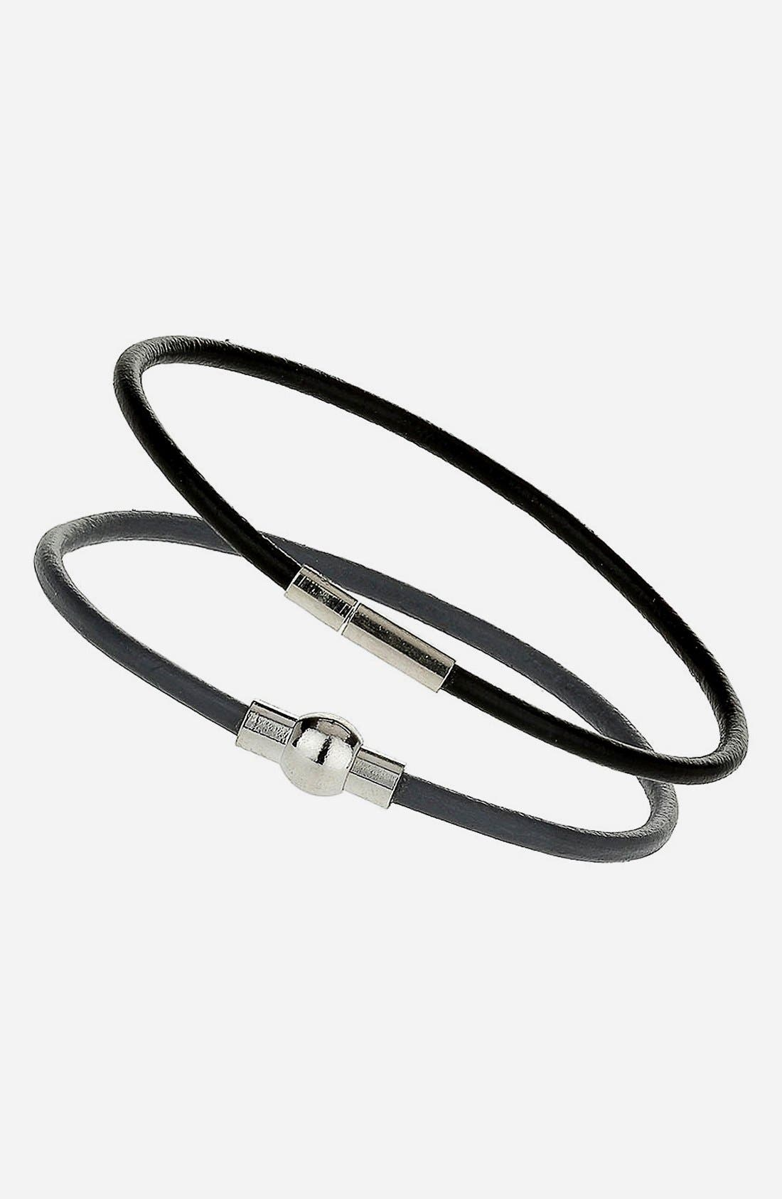 Alternate Image 1 Selected - Topman Leather Strap Bracelet