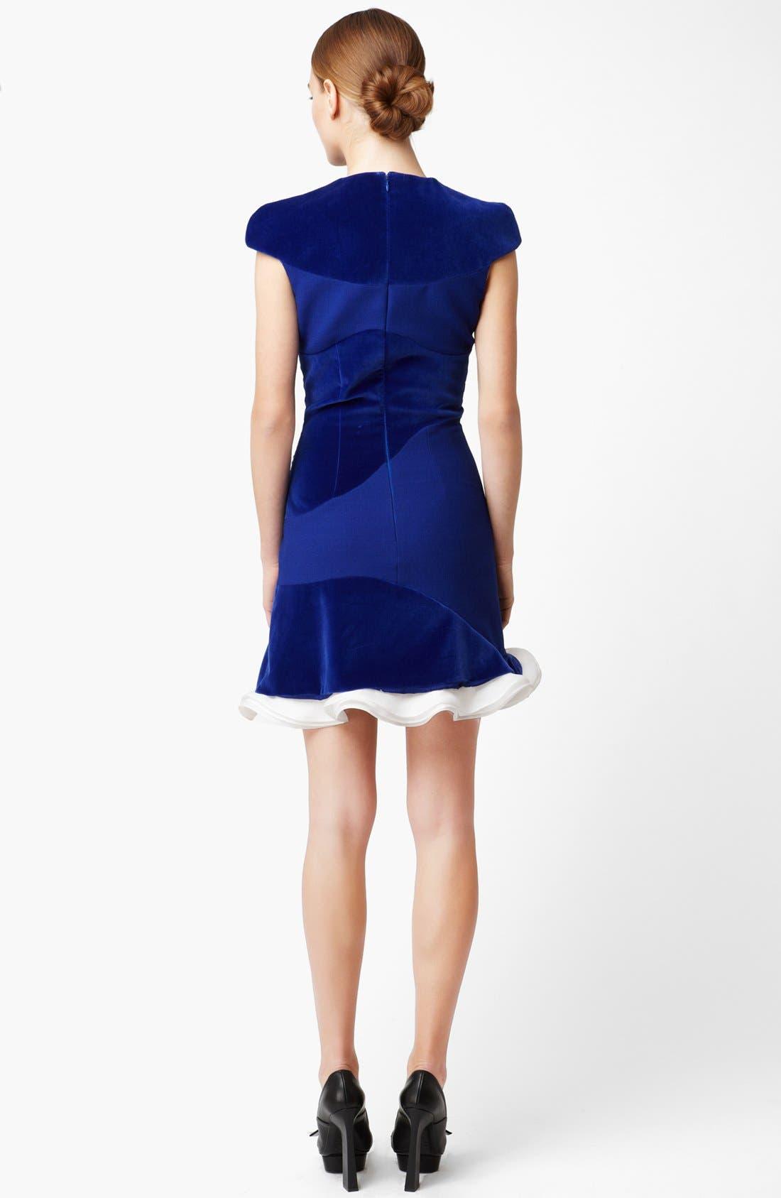 Alternate Image 2  - Alexander McQueen Organza Trim Velvet Dress