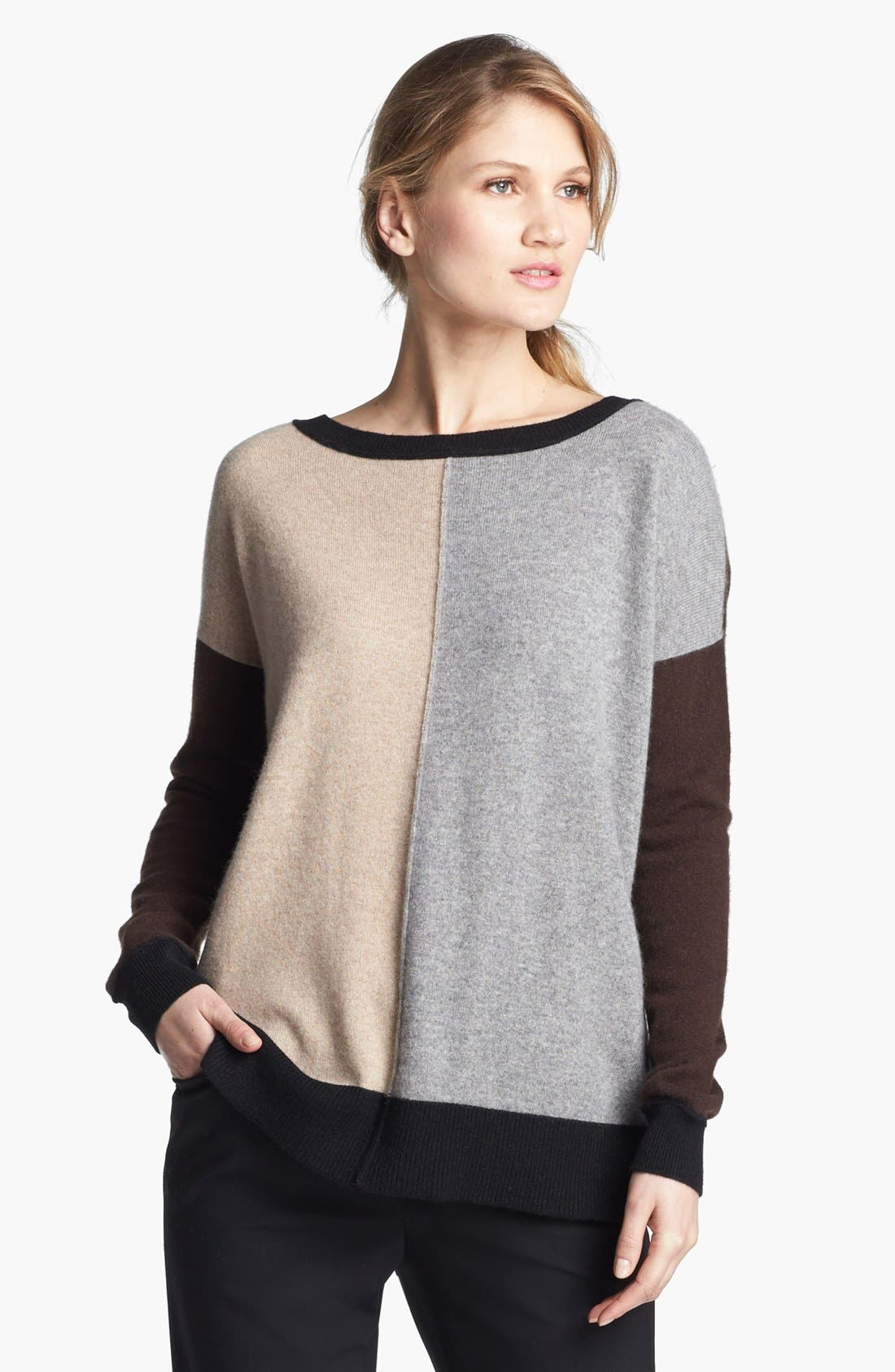 Alternate Image 1 Selected - Pure Amici Colorblock Oversized Cashmere Sweater