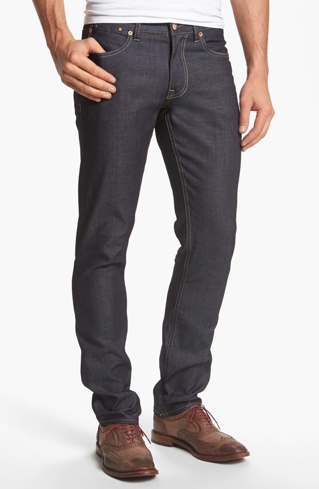 Main Image - Williamsburg Garment Company Lightweight 'Grand Street' Slim Fit Jeans (Raw)