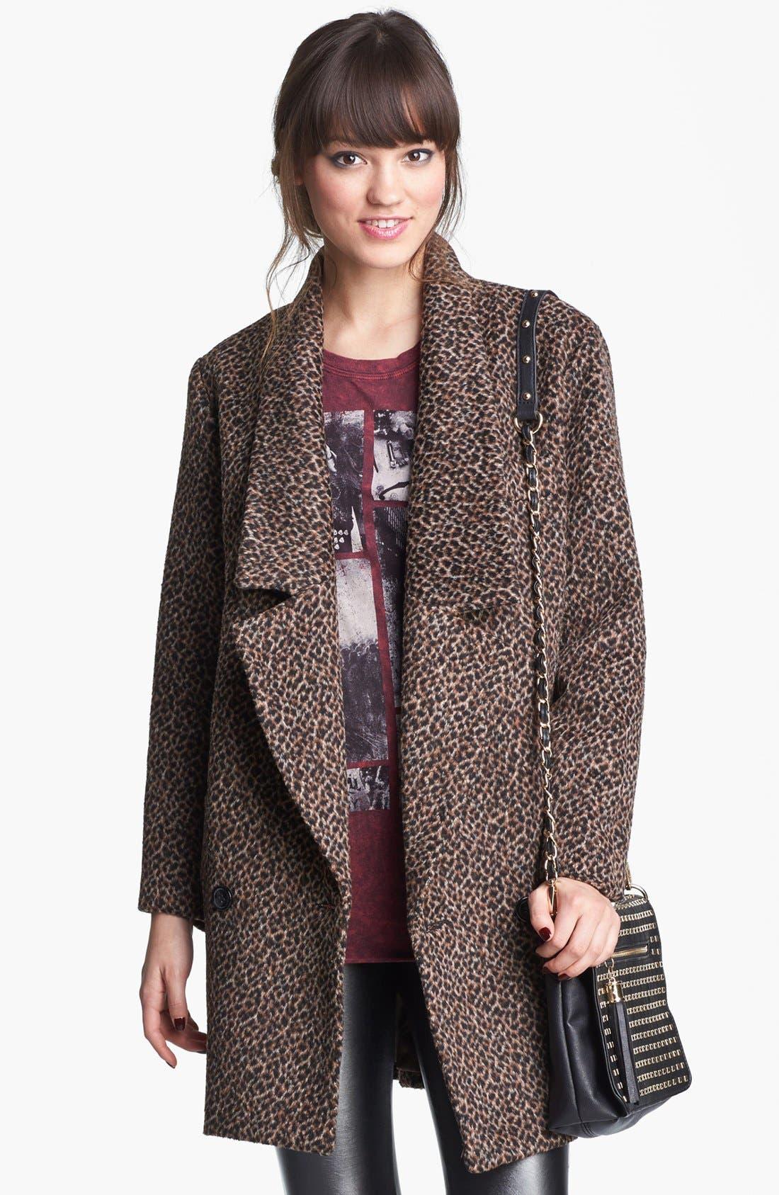 Main Image - Tulle Animal Print Oversized Collar Coat (Juniors) (Online Only)