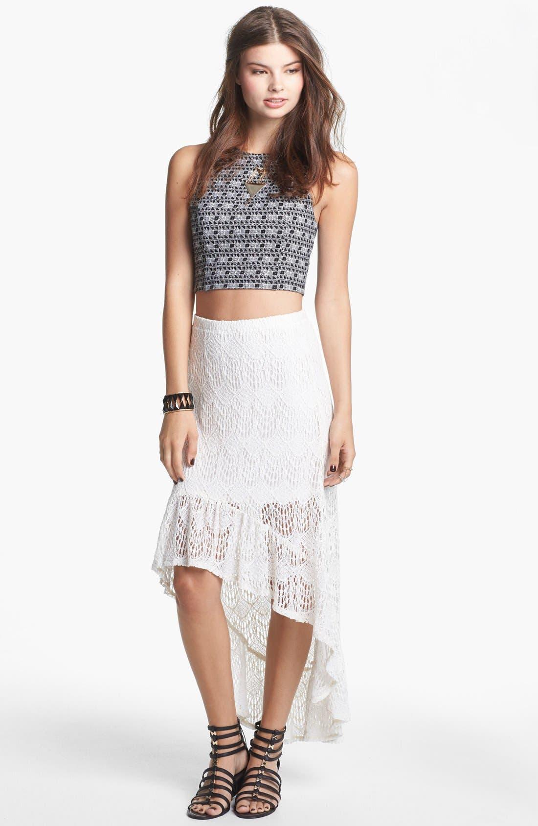 Main Image - Lily White Ruffle High/Low Skirt (Juniors)