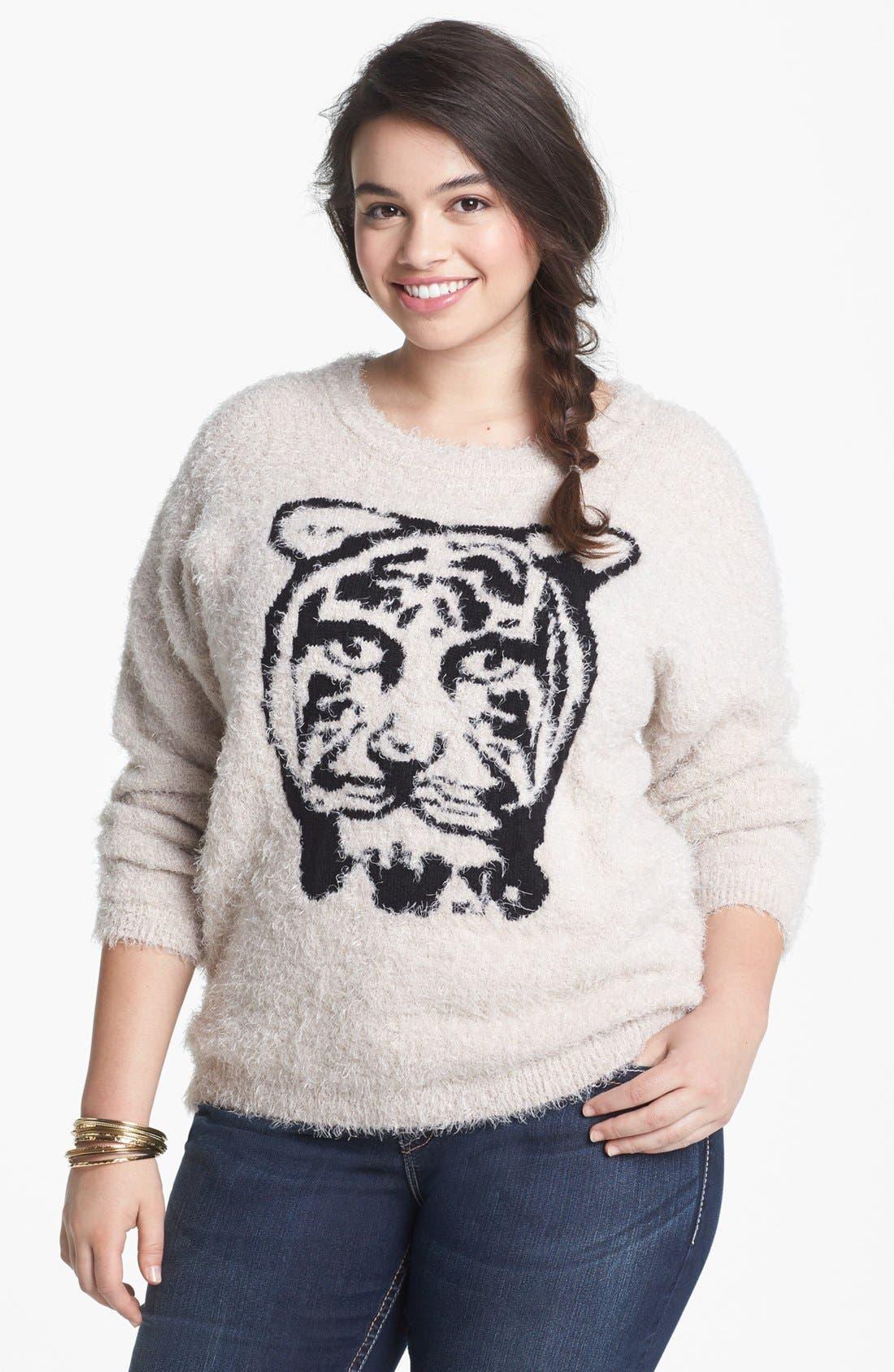 Main Image - Love By Design Tiger Eyelash Sweater (Juniors Plus)