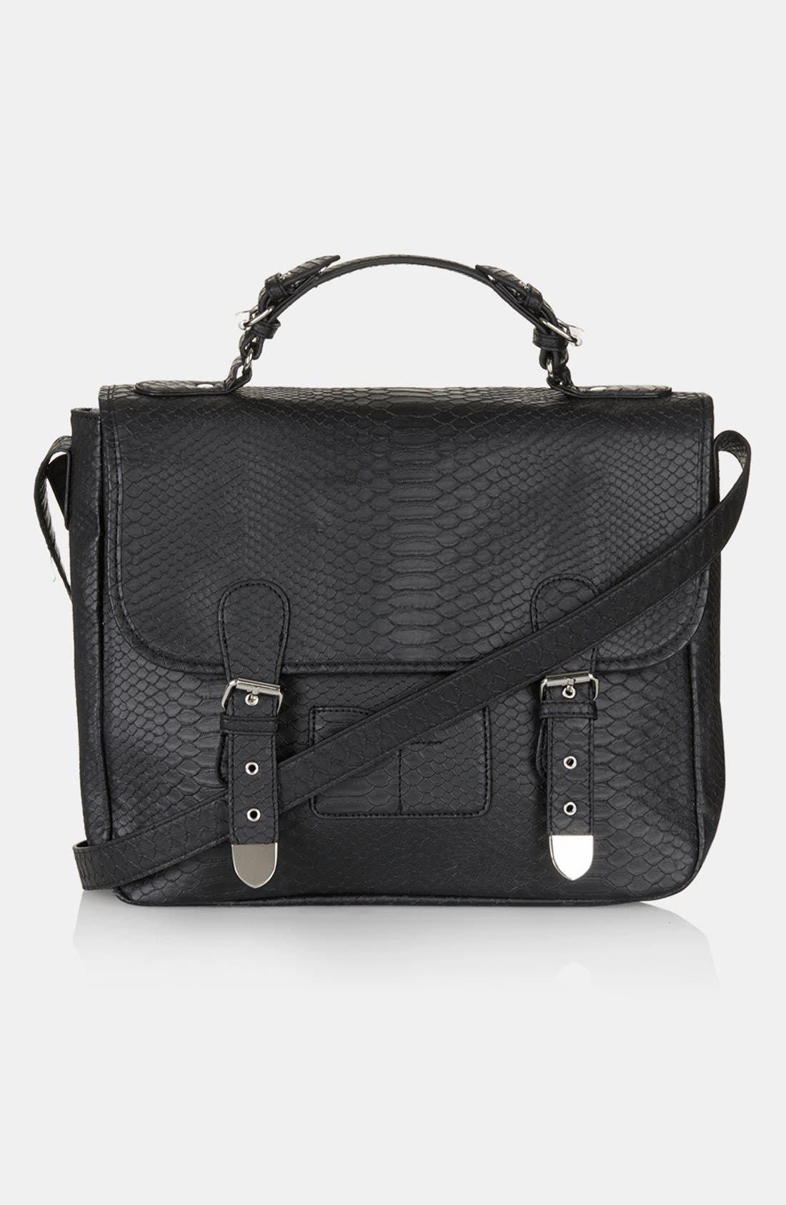 Main Image - Topshop Snake Embossed Faux Leather Satchel, Large