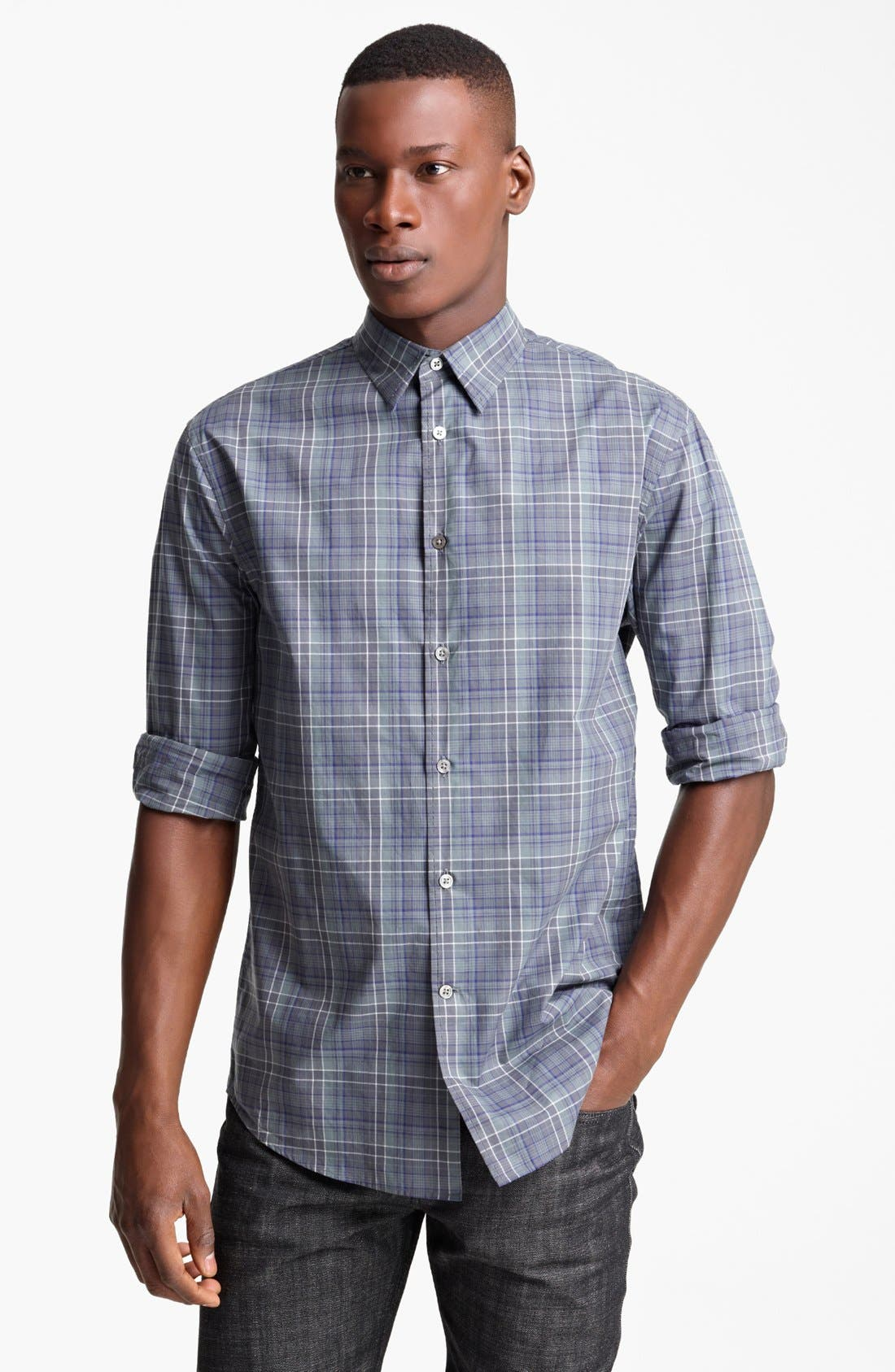 Main Image - John Varvatos Collection Classic Fit Plaid Sport Shirt
