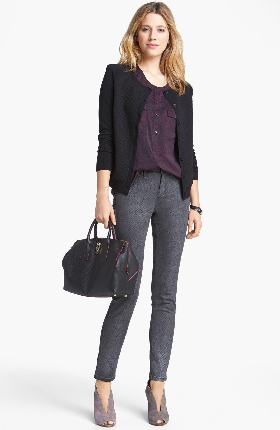 Main Image - Halogen® Cardigan, Trouvé Blouse & Jag Jeans Skinny Jeans