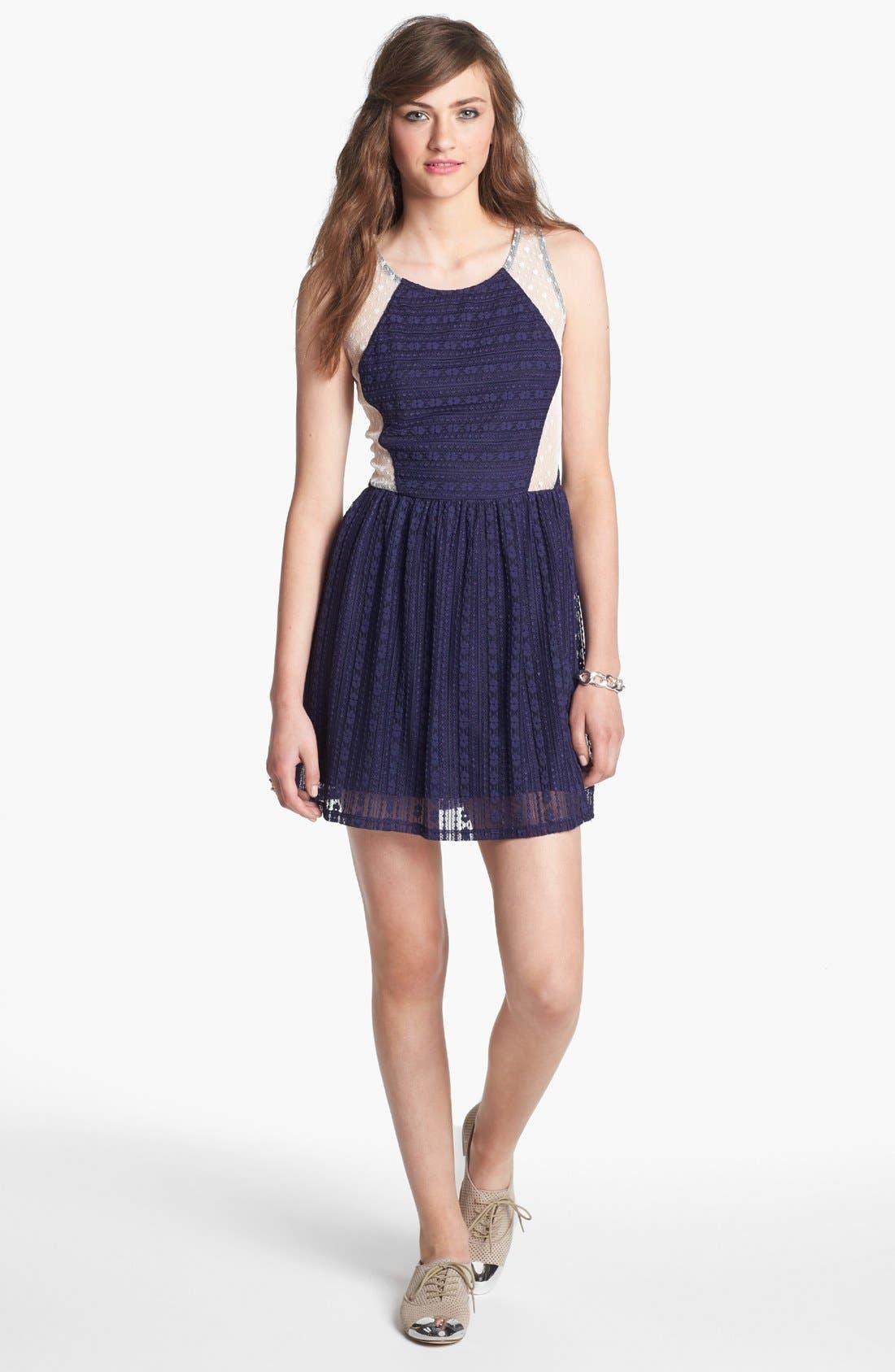 Main Image - Robin K Lace Illusion Skater Dress (Juniors)
