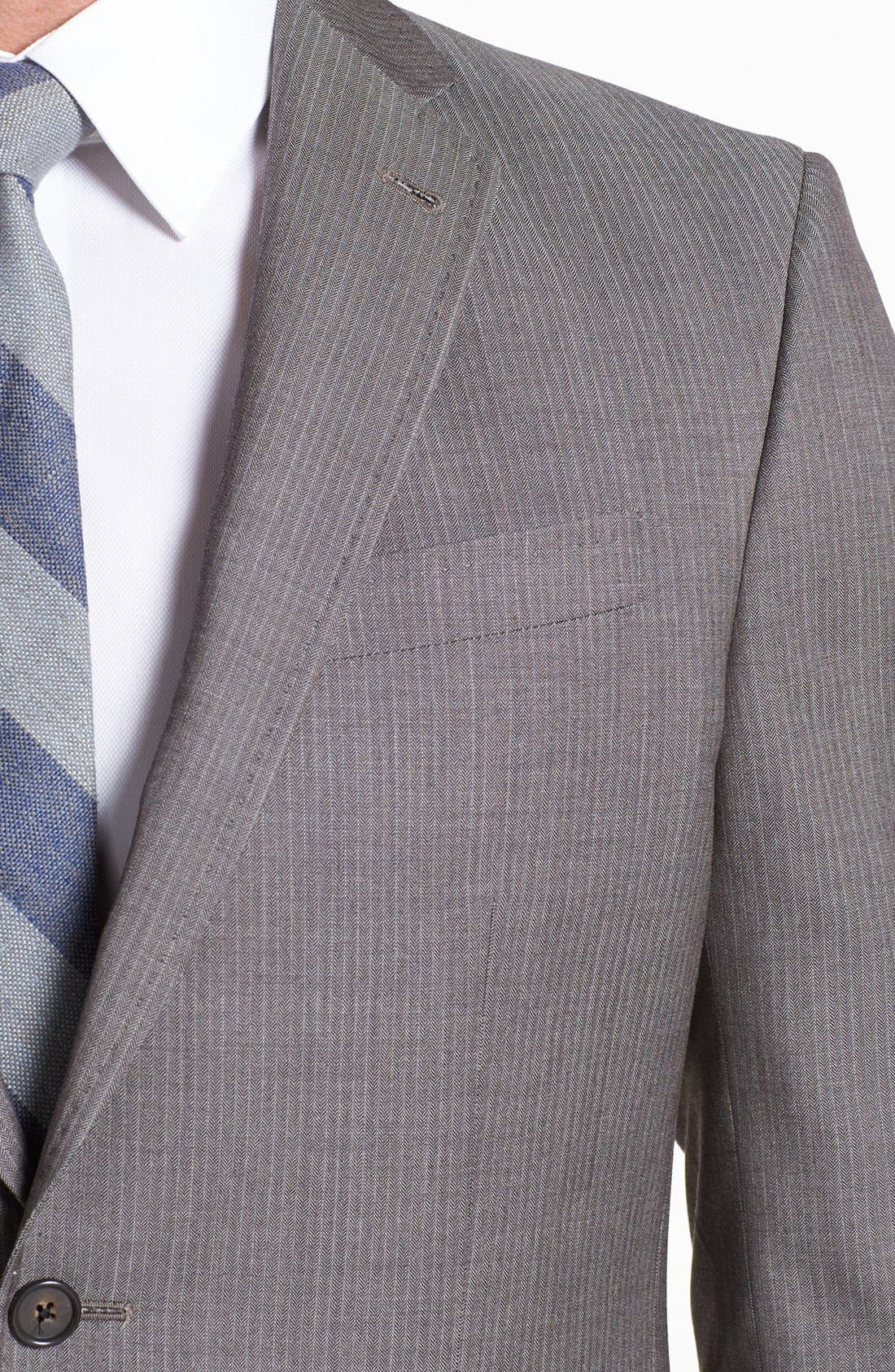 Alternate Image 2  - Ted Baker London 'Jim' Tan Herringbone Wool Suit
