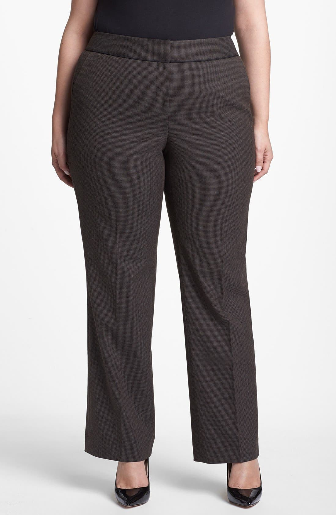 Main Image - Sejour Micro Houndstooth Trousers (Plus Size)