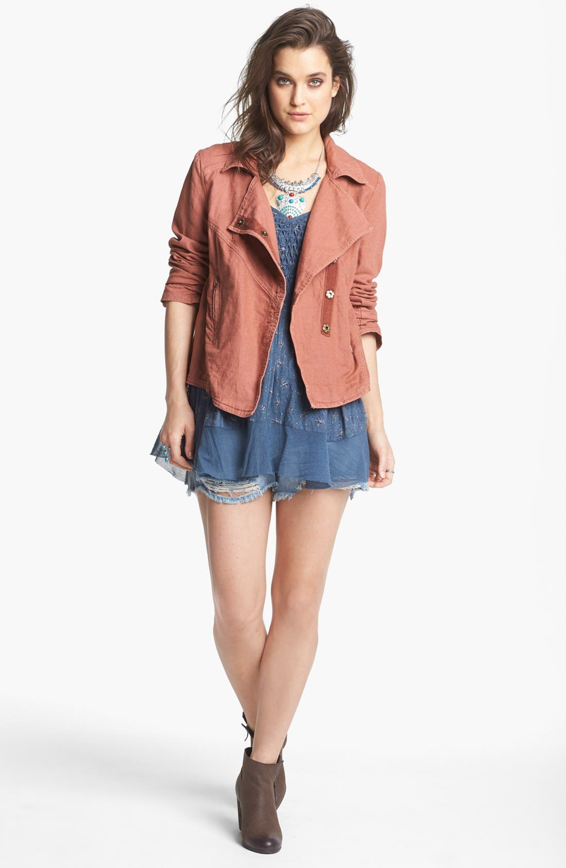 Alternate Image 1 Selected - Free People Textured Linen Blend Jacket