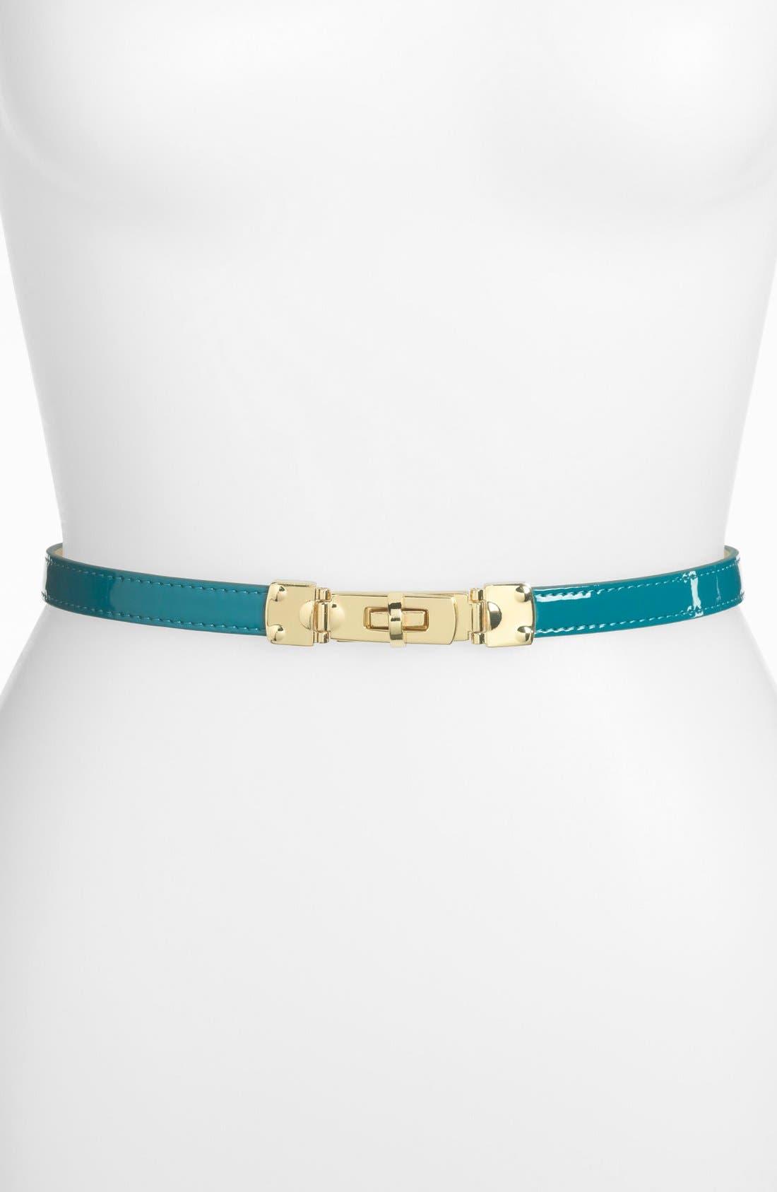 Turnlock Skinny Belt,                         Main,                         color, Teal Coral