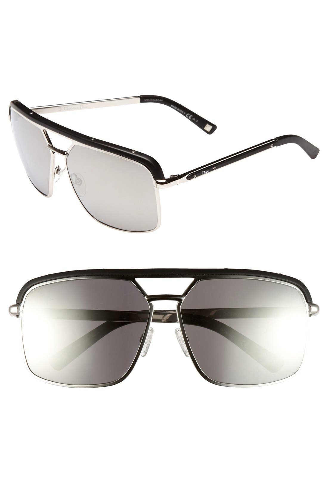 Alternate Image 1 Selected - Dior 'Havane' 61mm Metal Aviator Sunglasses