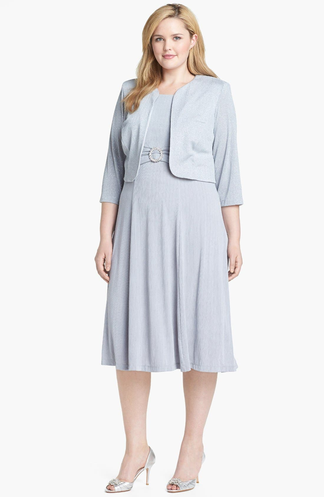 Main Image - Jessica Howard Embellished Dress & Jacket (Plus Size)