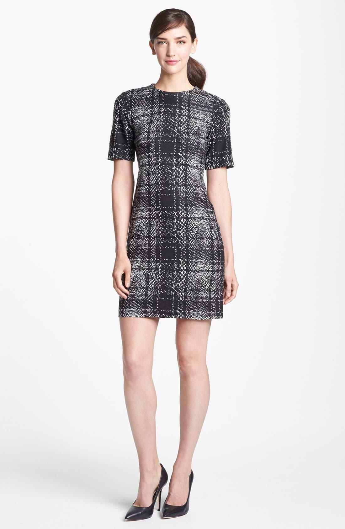 Mixed Print Sheath Dress,                         Main,                         color, Black/ White Multi