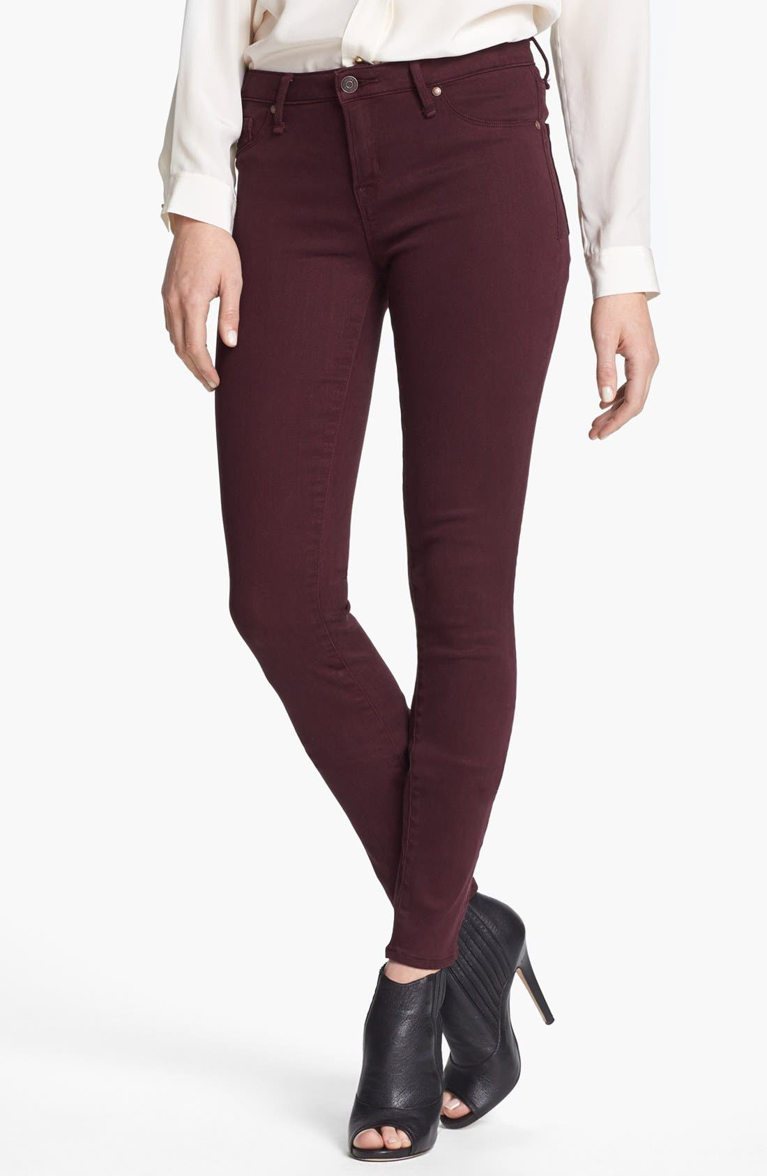 'Stick' Colored Skinny Stretch Jeans,                         Main,                         color, Winetasting
