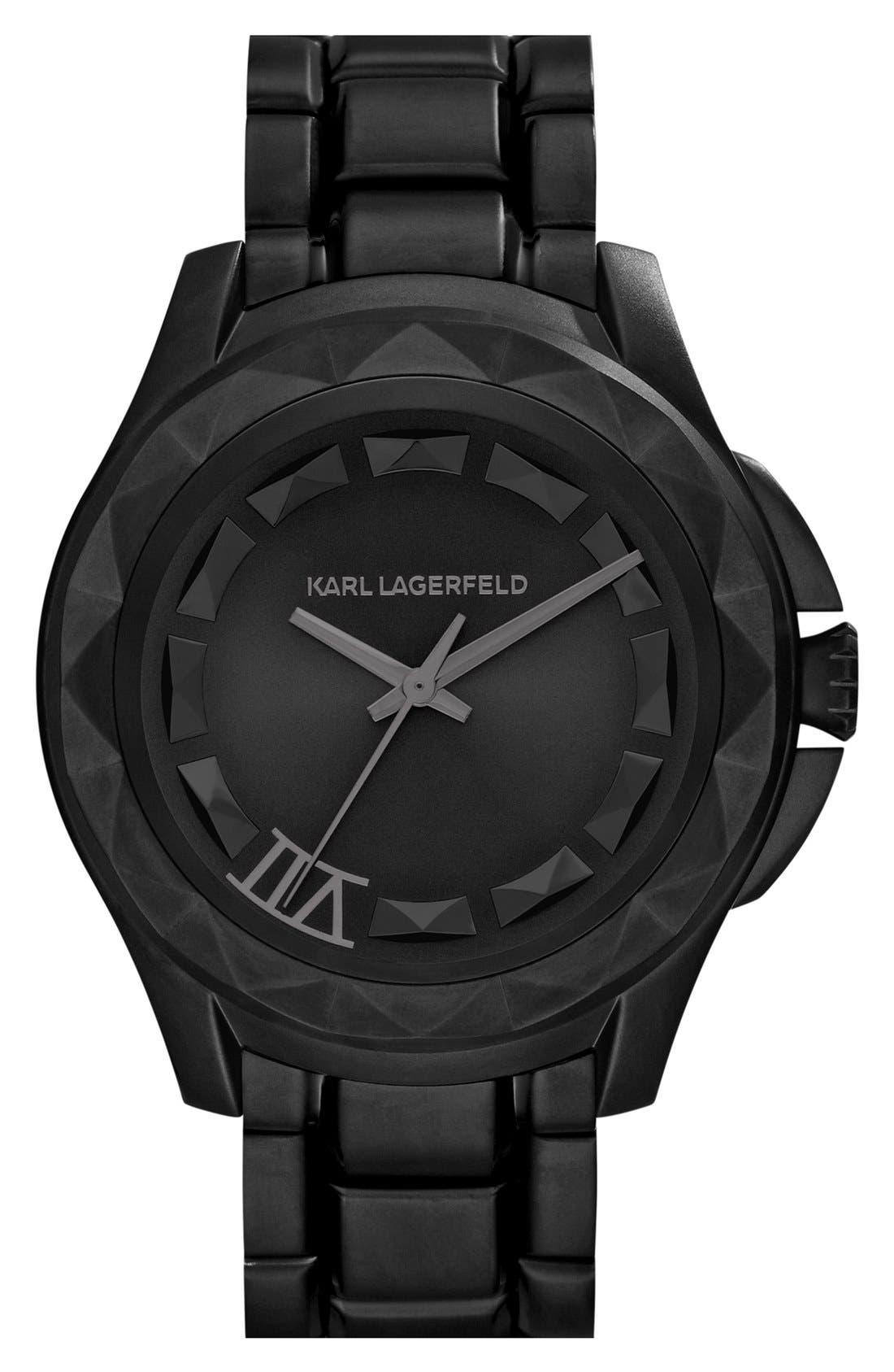 Main Image - KARL LAGERFELD '7' Faceted Bezel Bracelet Watch, 44mm (Nordstrom Online Exclusive)