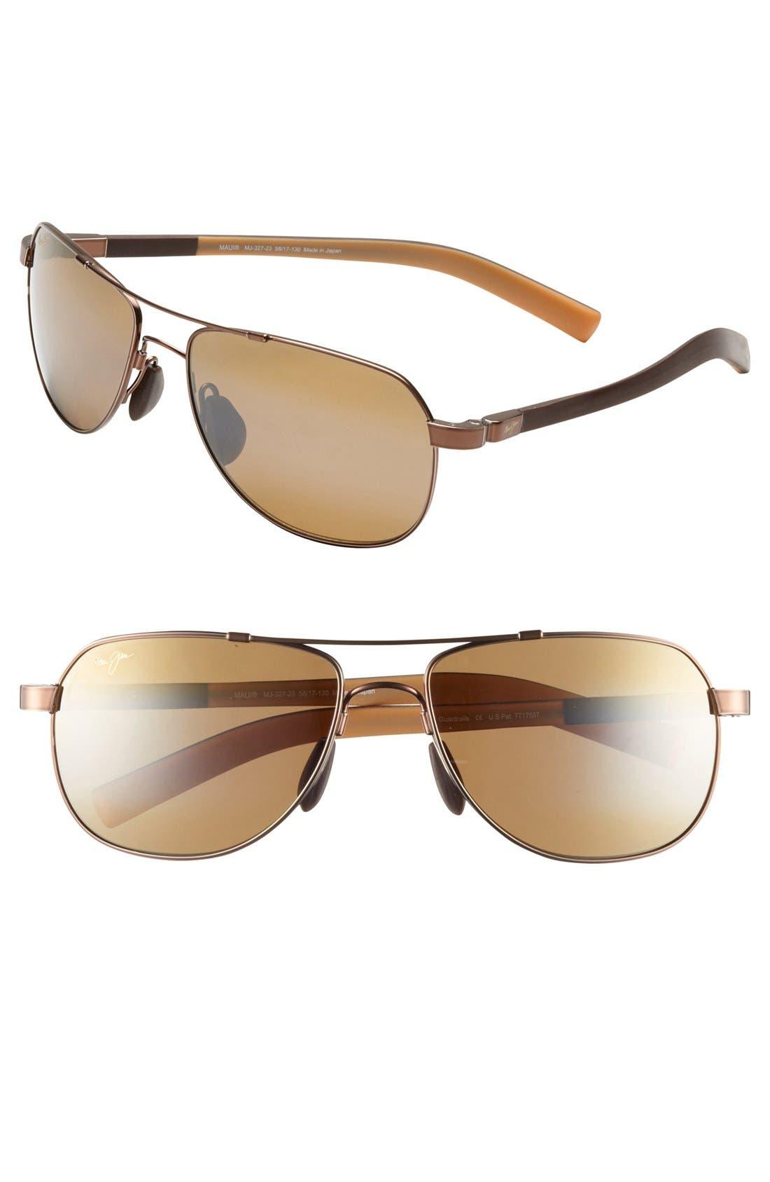 Maui Jim 'Maui Flex - PolarizedPlus®2' 56mm Aviator Sunglasses