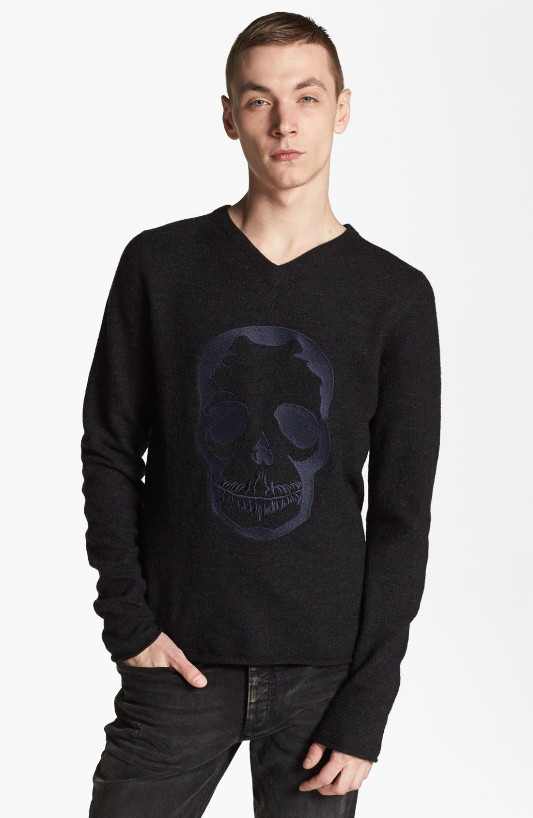 Alternate Image 1 Selected - Zadig & Voltaire Skull Embroidered V-Neck Sweater