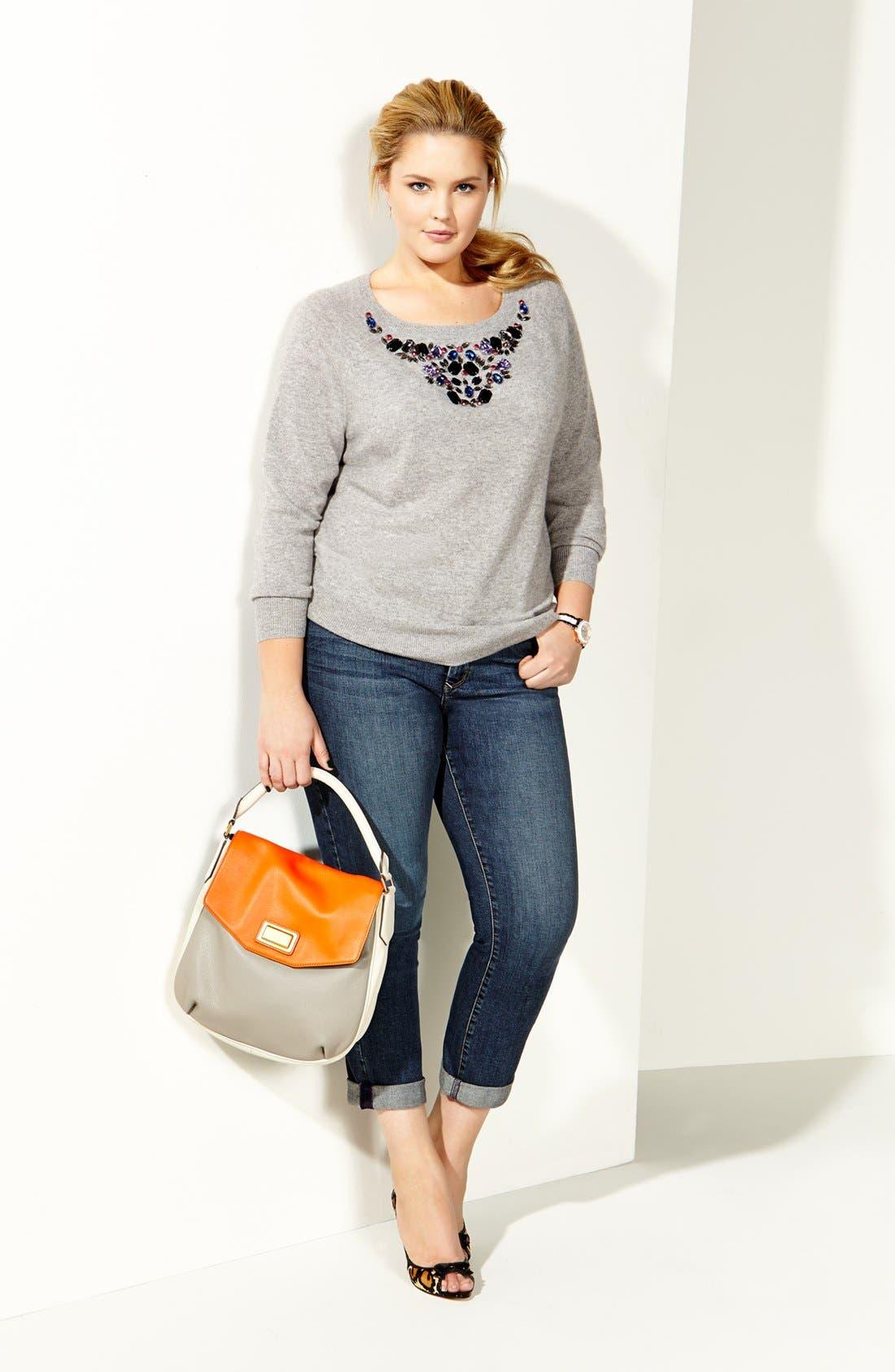 Alternate Image 5  - Halogen® Embellished Cashmere Sweater (Plus Size)