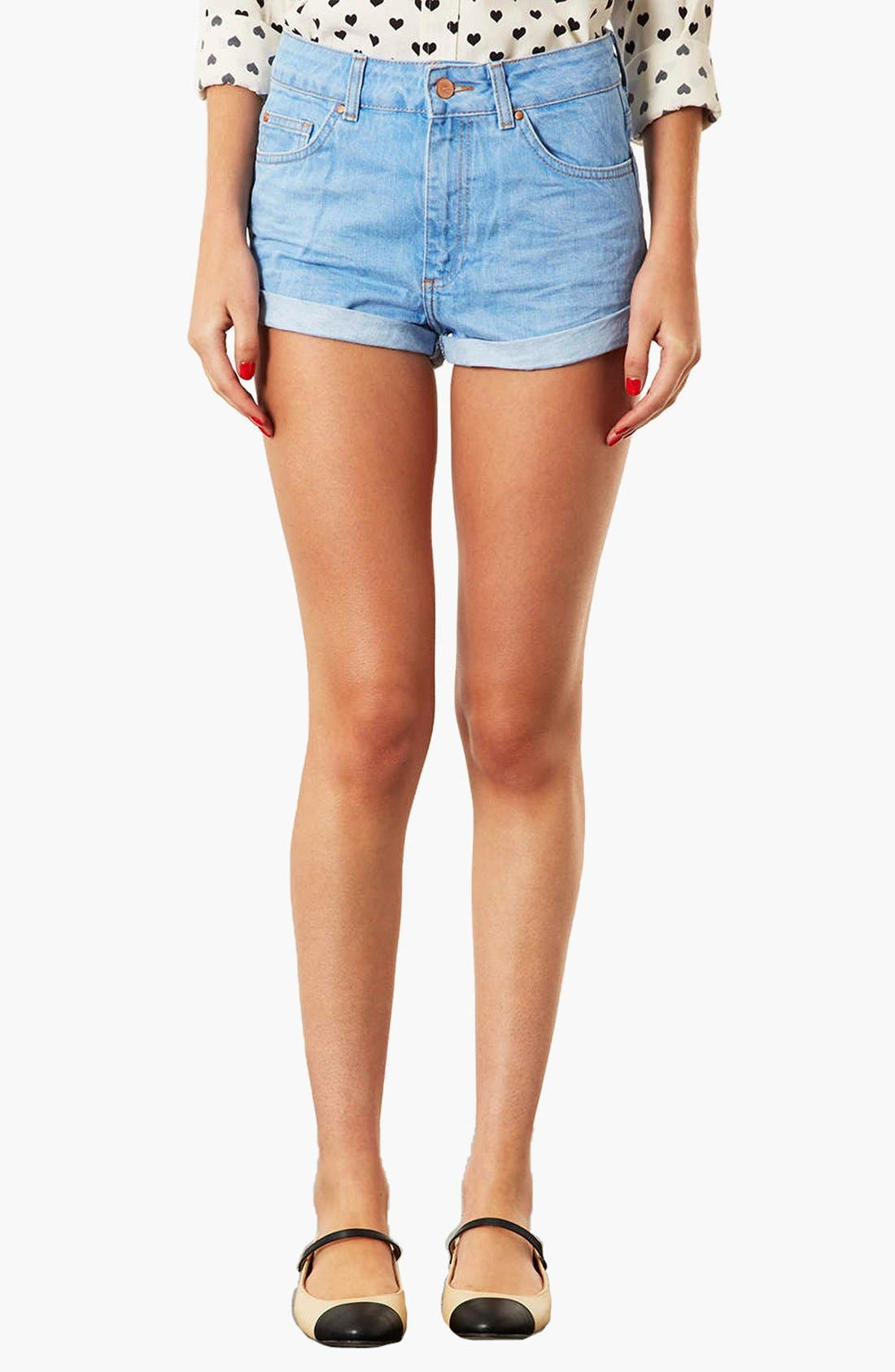 Alternate Image 1 Selected - Topshop Moto 'Polly' Denim Shorts