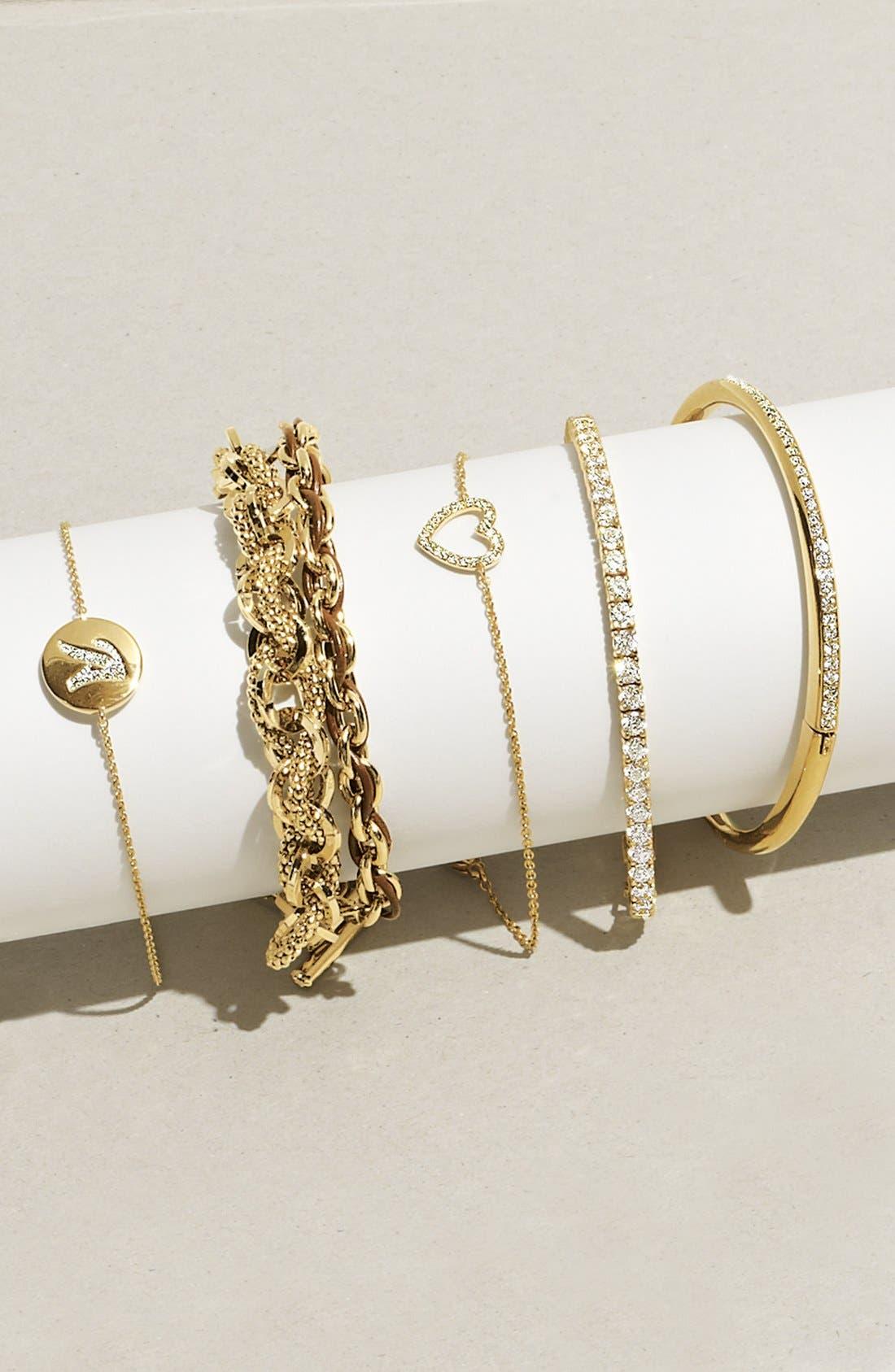 Alternate Image 4  - Cara Link & Leather Double Wrap Bracelet