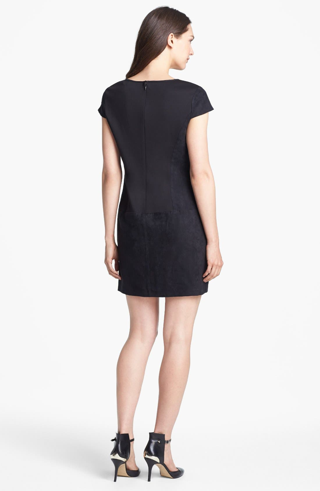 Alternate Image 2  - Jessica Simpson Laser Cut Faux Suede Shift Dress (Online Only)