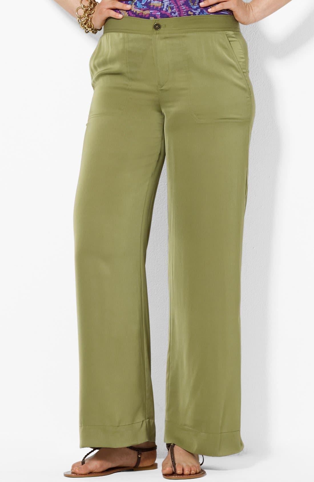 Alternate Image 1 Selected - Lauren Ralph Lauren Satin Pants (Plus Size)