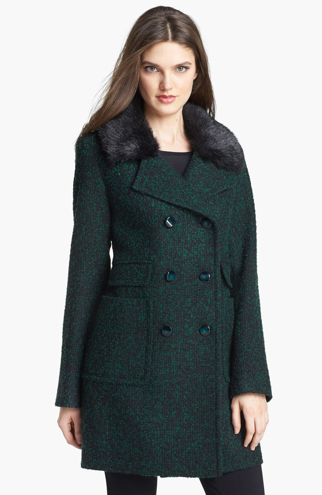 Alternate Image 1 Selected - Ivanka Trump Detachable Faux Fur Collar Tweed Coat