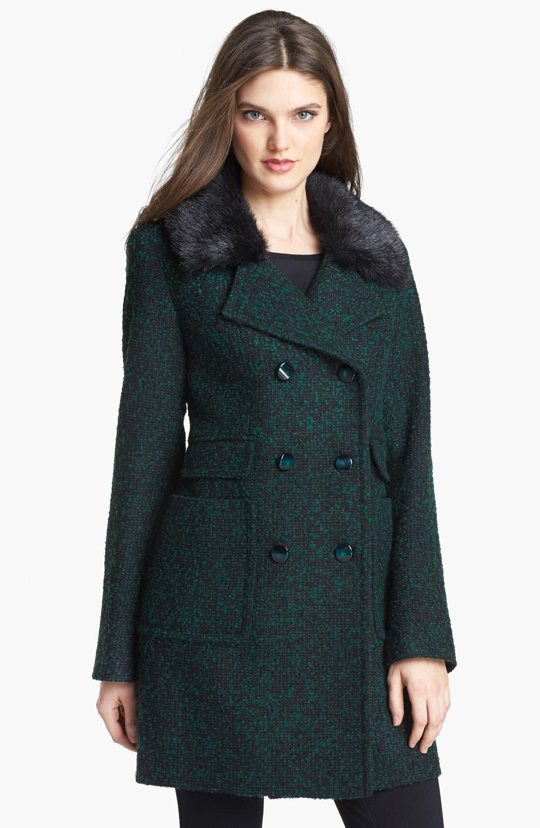 Main Image - Ivanka Trump Detachable Faux Fur Collar Tweed Coat