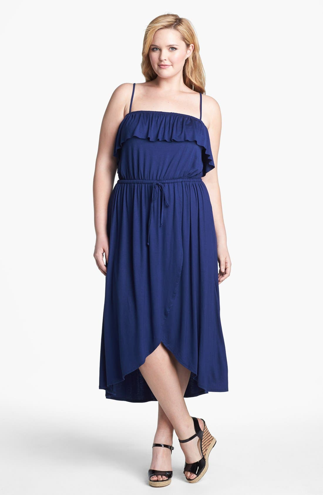 Alternate Image 4  - Sweet Pea by Stacy Frati Ruffled High/Low Jersey Dress (Plus Size)