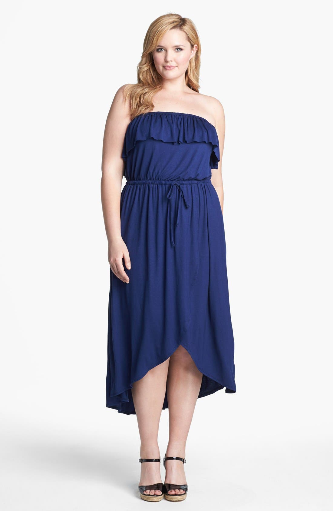 Main Image - Sweet Pea by Stacy Frati Ruffled High/Low Jersey Dress (Plus Size)