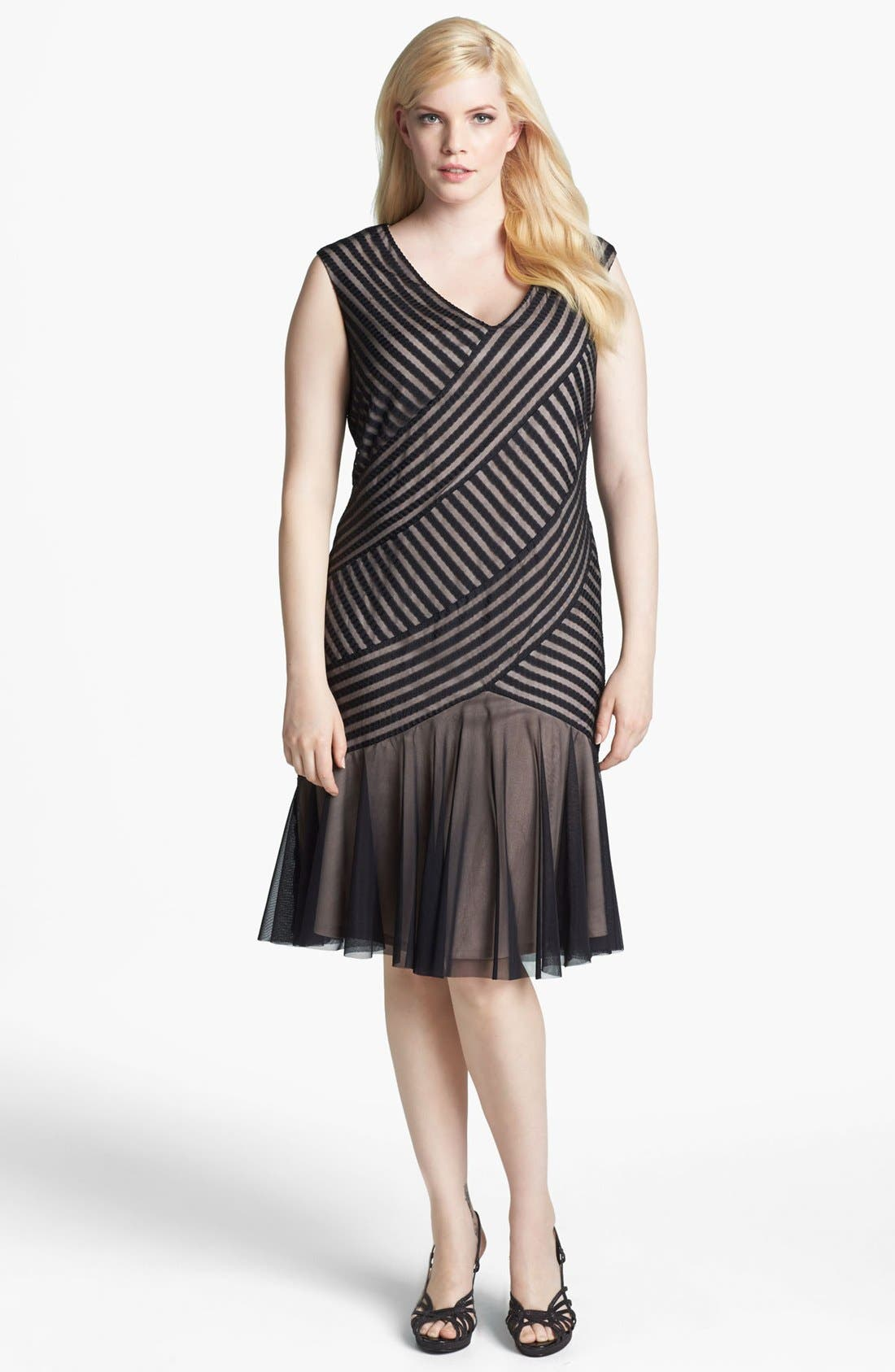 Main Image - London Times Cable & Mesh Drop Waist Dress (Plus Size)