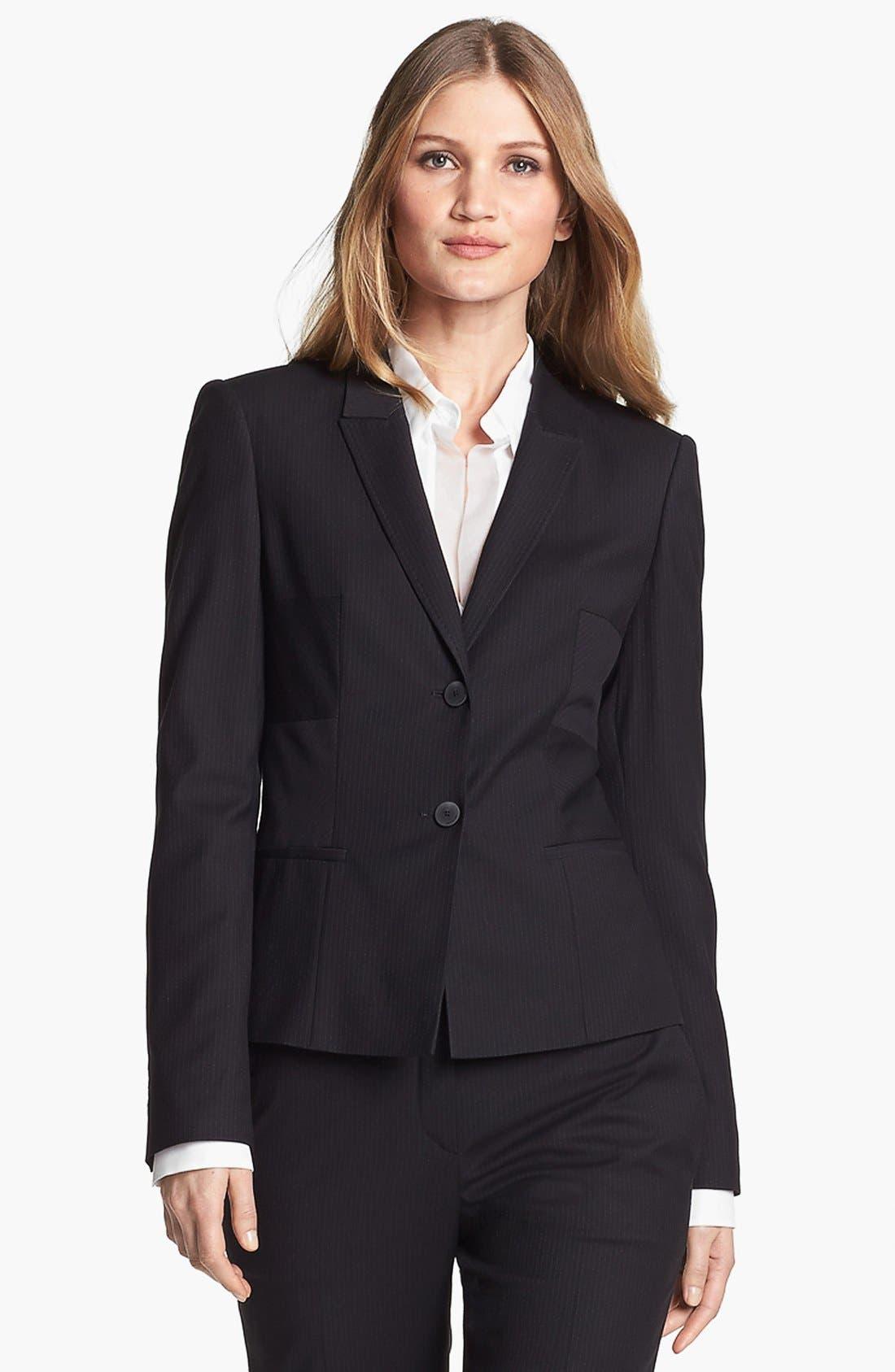 Alternate Image 1 Selected - BOSS HUGO BOSS 'Jilisa' Pinstripe Jacket