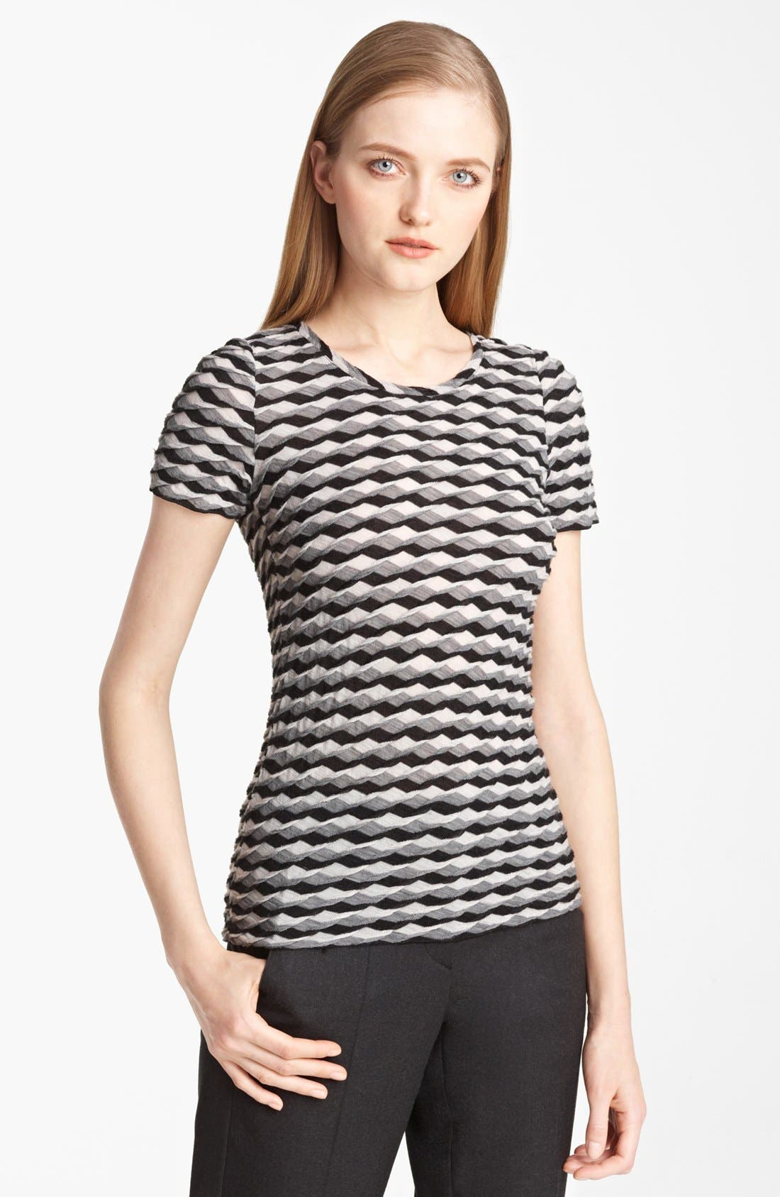 Main Image - Armani Collezioni Geometric Wave Knit Jersey Top