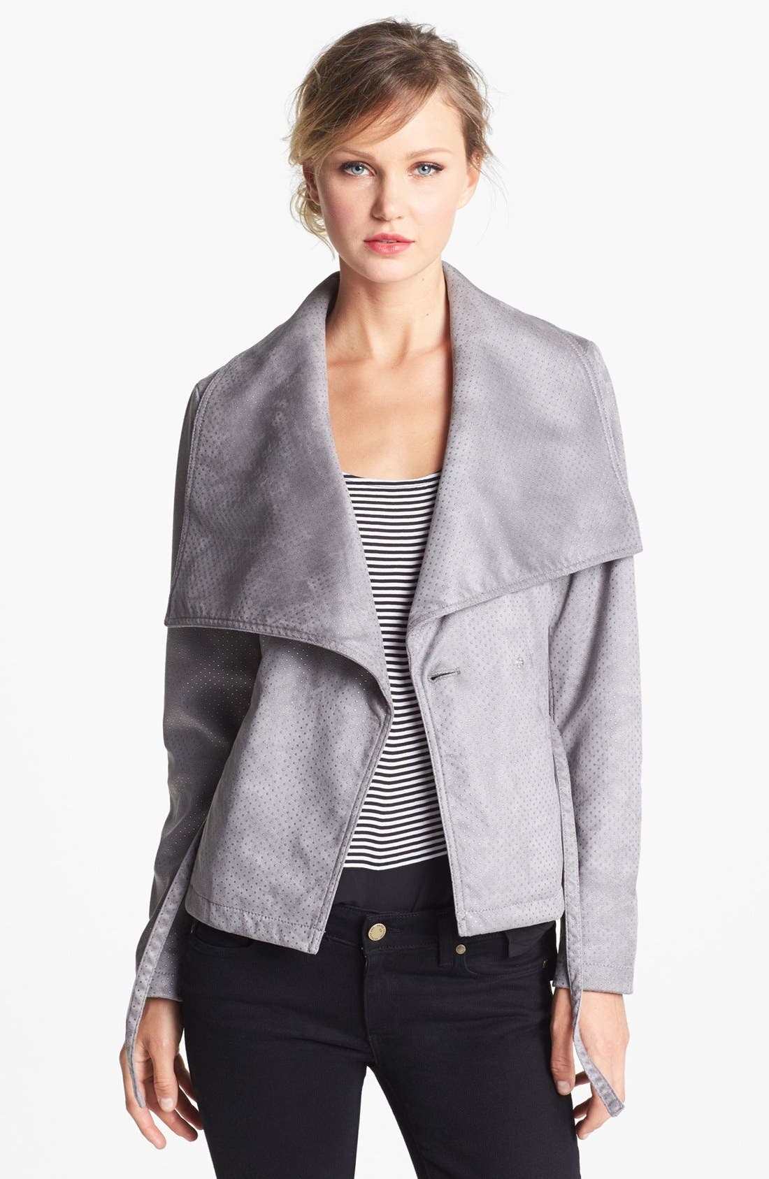 Main Image - Kenneth Cole New York Studded Asymmetrical Faux Leather Jacket (Online Only)