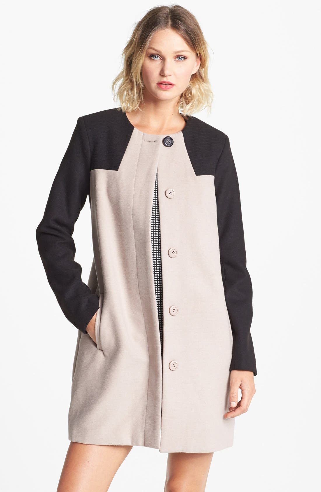 Main Image - BB Dakota Collarless Colorblock Coat
