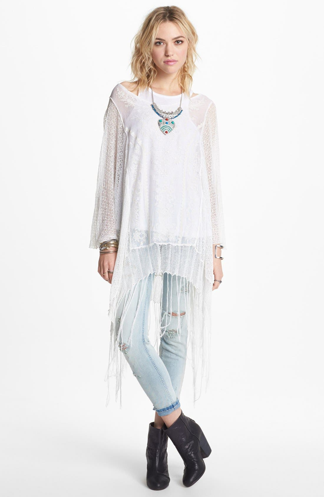 Alternate Image 1 Selected - Free People 'Dancing with Flowers' Sheer Sweater