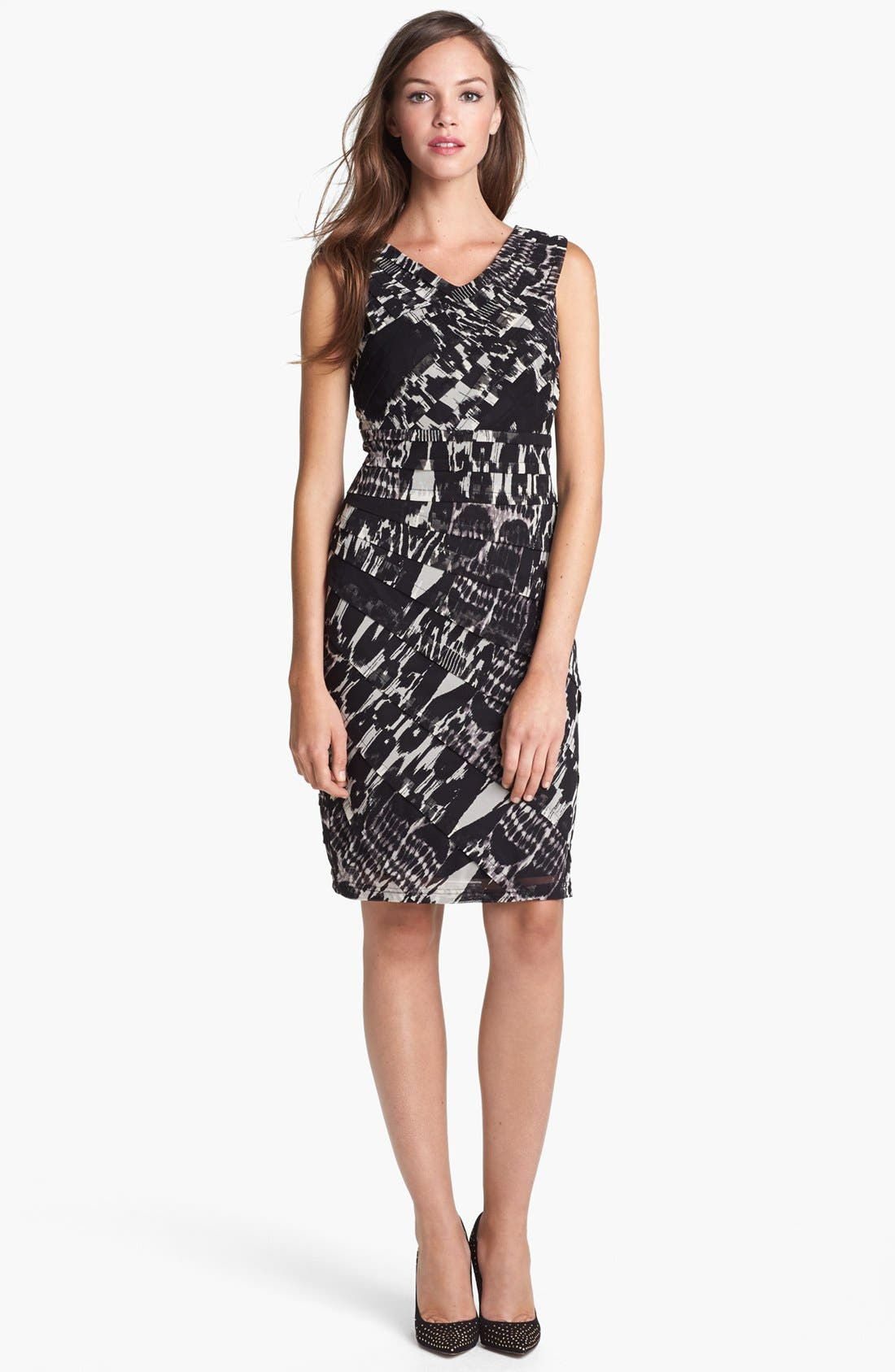 Alternate Image 1 Selected - Adrianna Papell Asymmetrical Pleat Print Dress