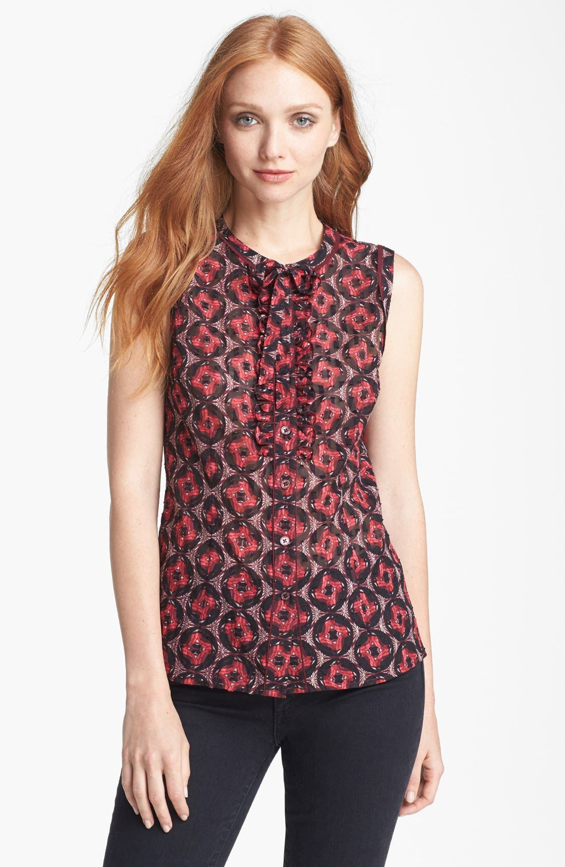 Alternate Image 1 Selected - Tory Burch 'Libby' Cotton & Silk Top