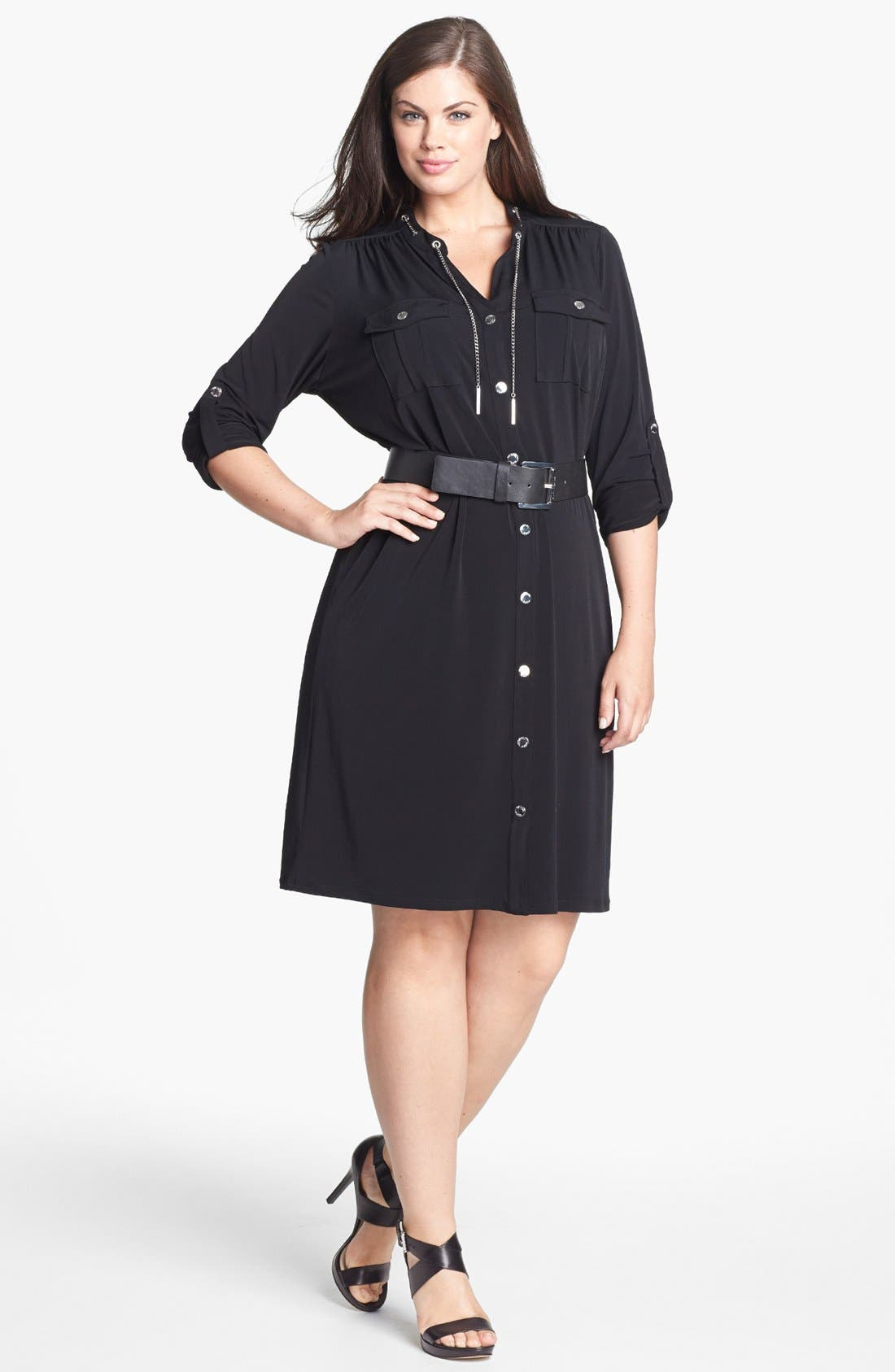 Alternate Image 1 Selected - MICHAEL Michael Kors Chain Detail Shirtdress (Plus Size)